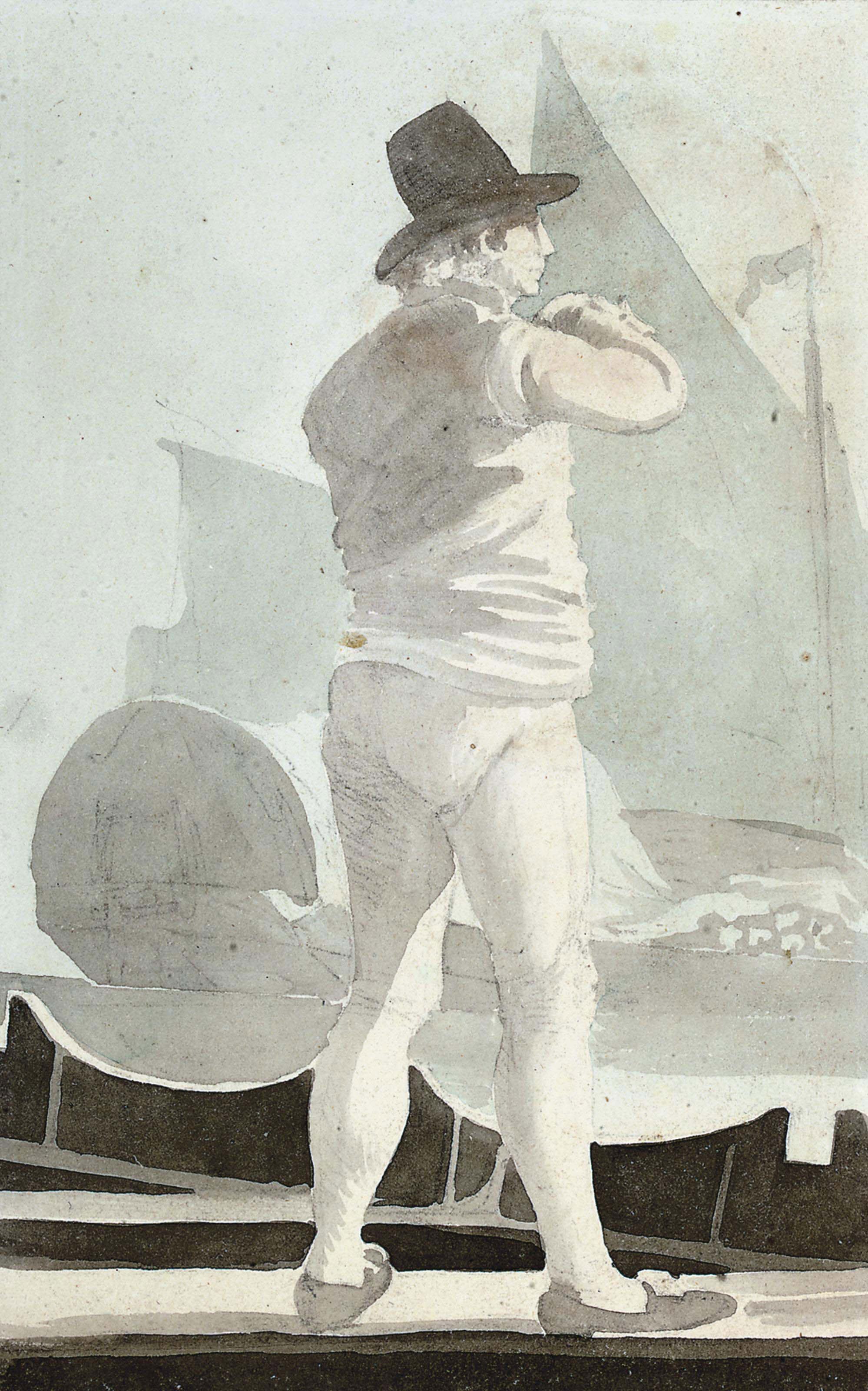 Study of a man by a boat; and Study of a burgher standing on the deck of a ship (illustrated)