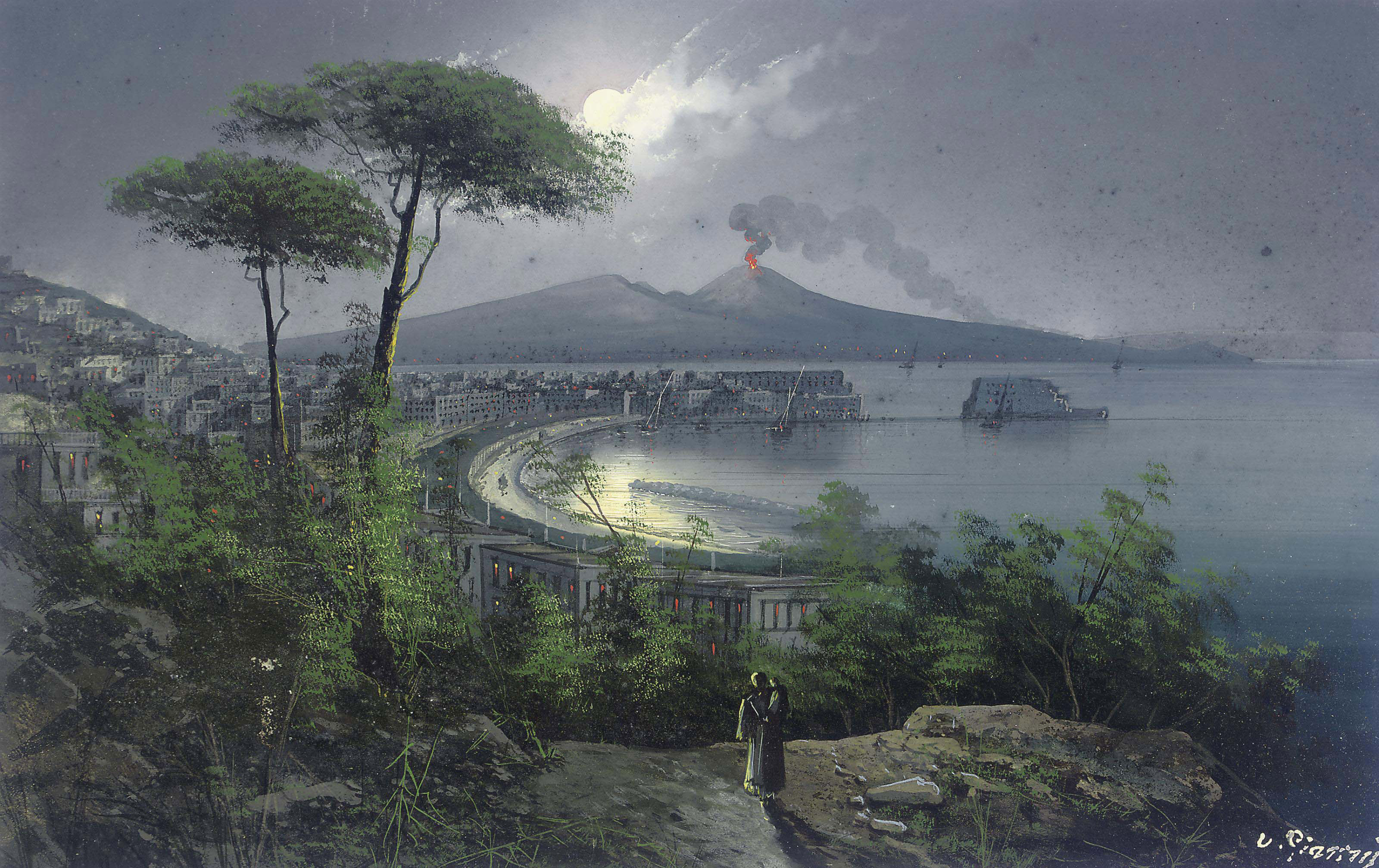 The bay of Naples at night, with Vesuvius erupting beyond (illustrated); Bay of Naples; and Fisherfolk on the shore, Sorrento