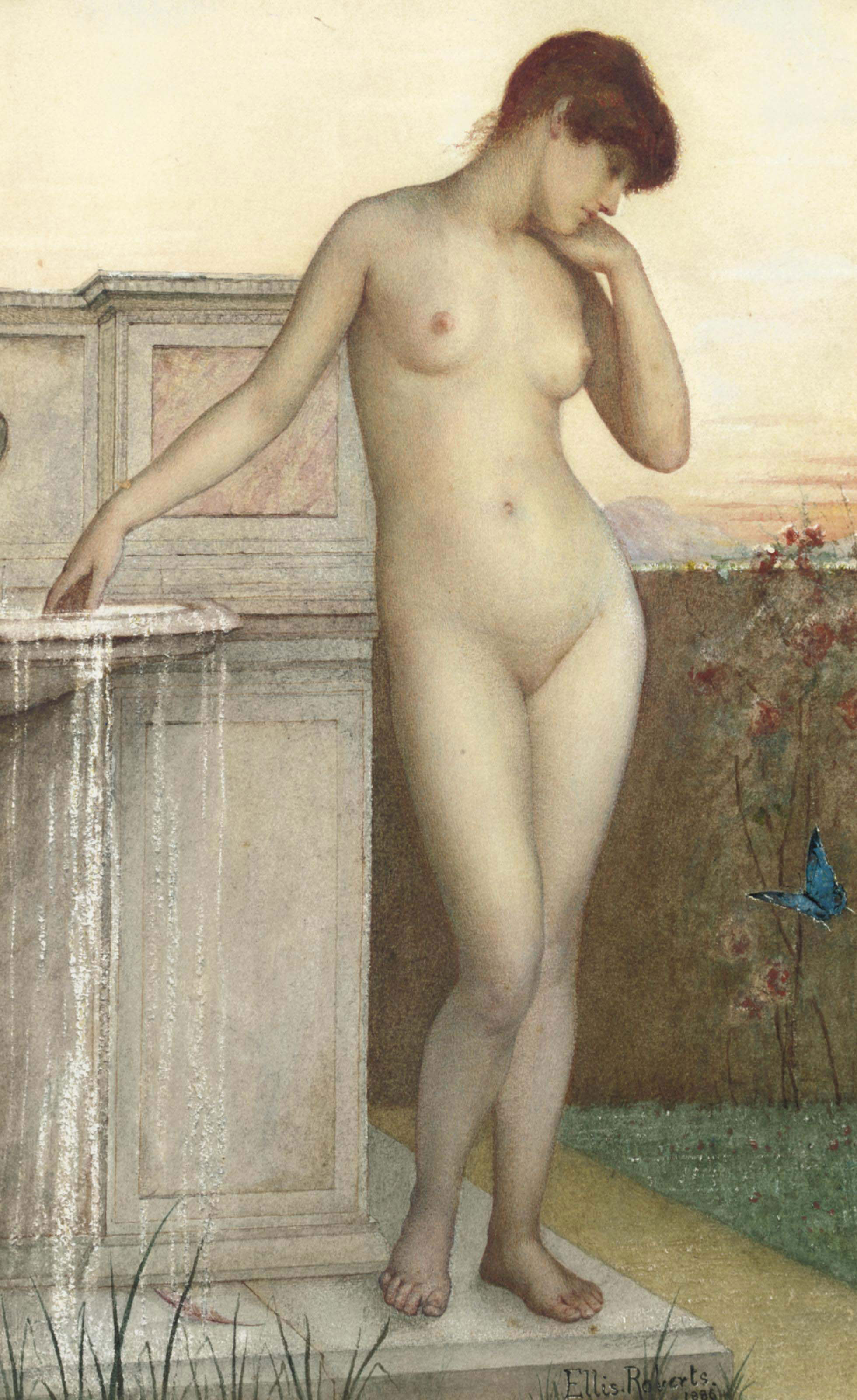 A female nude standing by a fountain