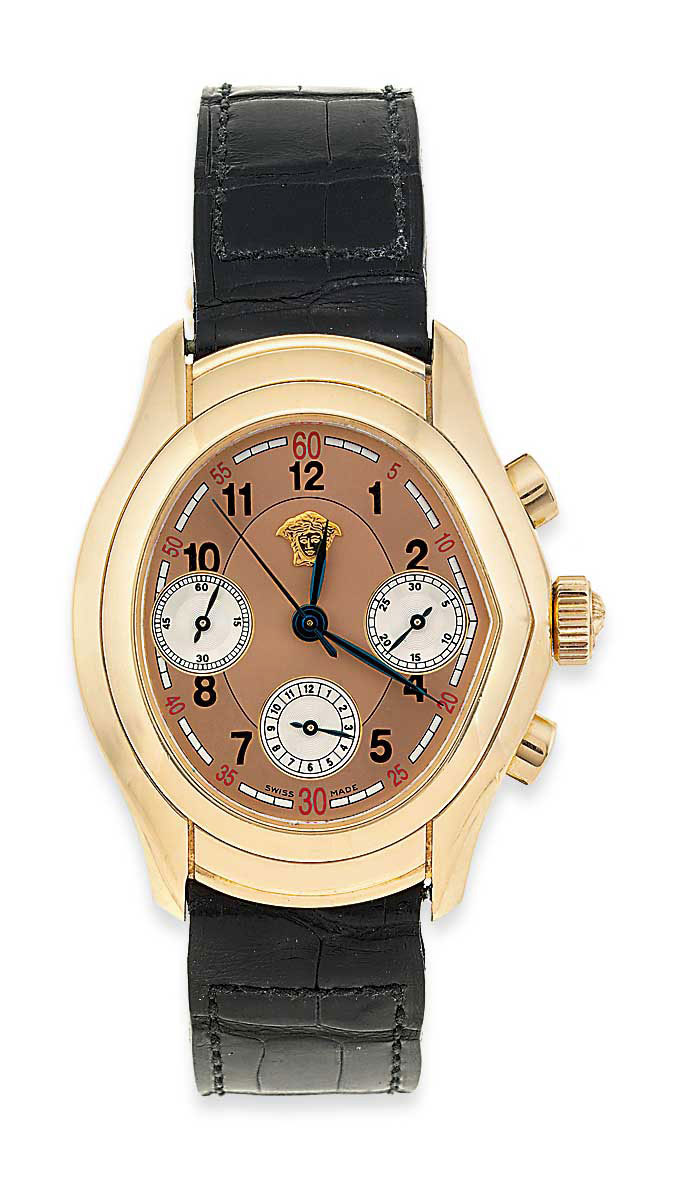 An 18ct. gold, 'V Master' chronograph limited edition wristwatch, by Versace