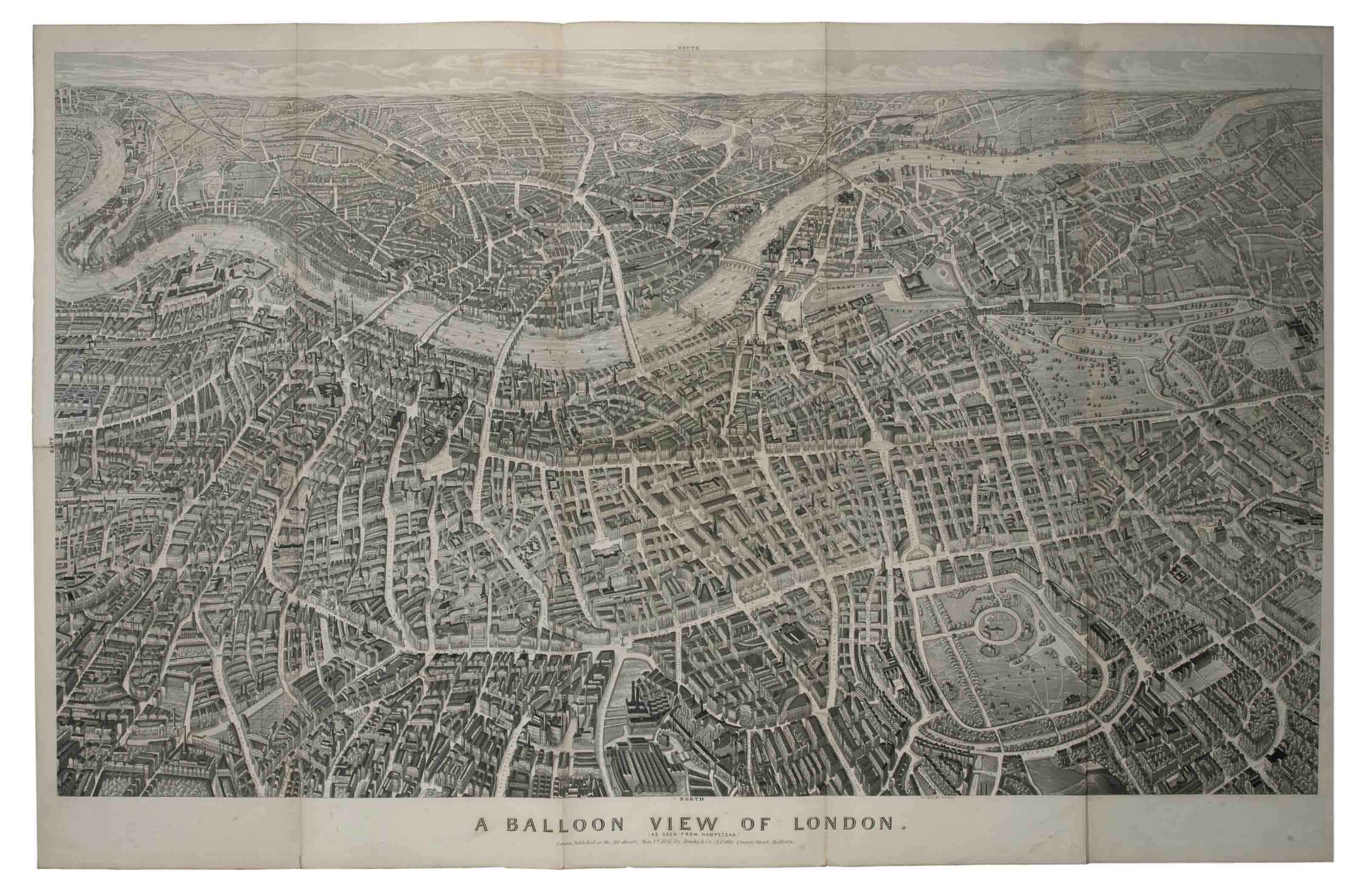 BANKS & Co. (publisher). A Balloon View of London as seen from Hampstead. London: 1851. Large folding lithographic map. (Very light browning, slightly more noticeable at crease folds.) 703 x 1094mm, folded and contained in the small 2° (355 x 266mm) original brown cloth binding, decorated in blind, lettered in gilt to upper cover (extremities very lightly rubbed).