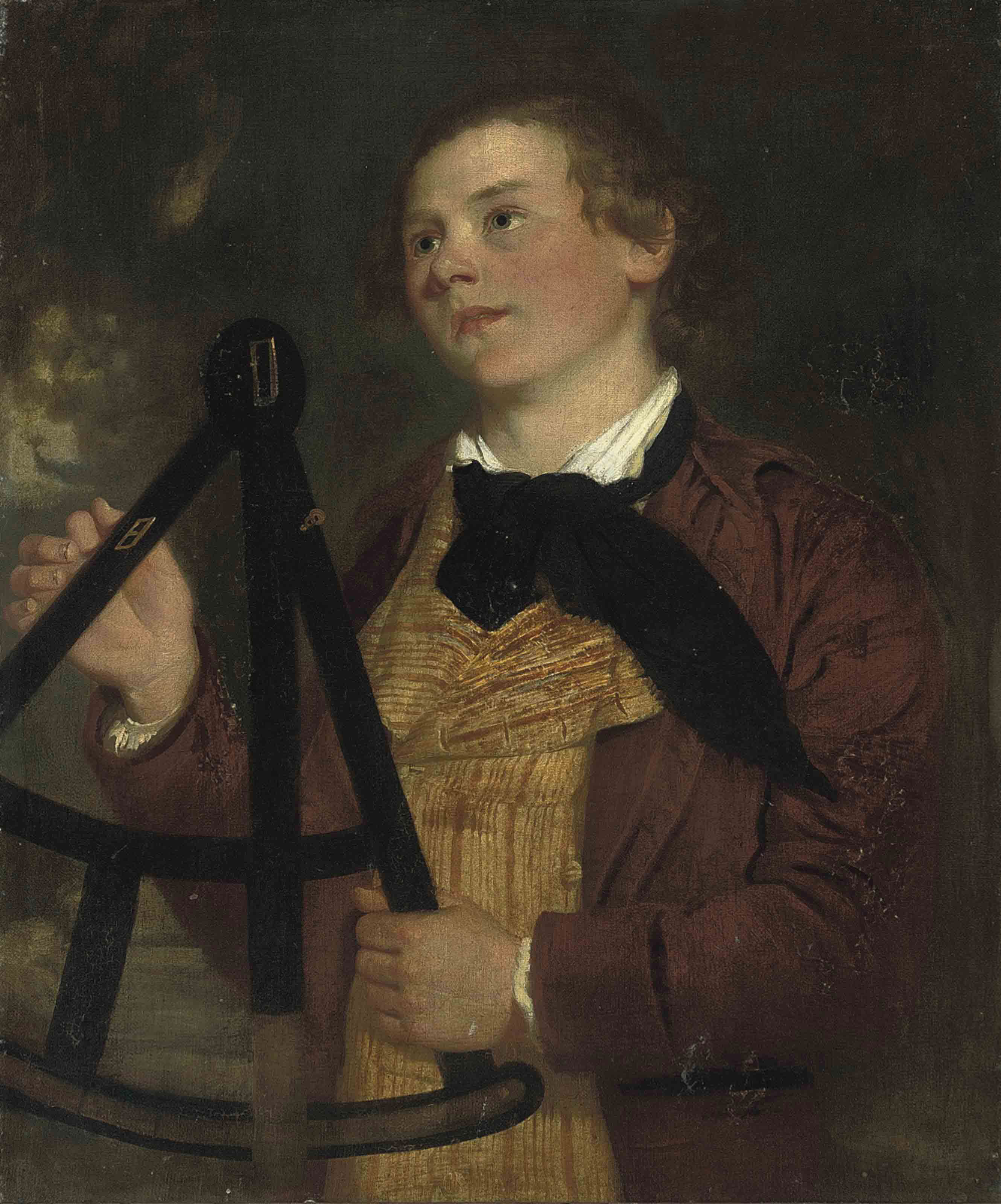 Portait of a gentleman, traditionally identified as John Adey Repton, F.S.A. (1775-1860), half-length, in red coat and yellow waistcoat with a black cravat, holding a surveyors theodolite