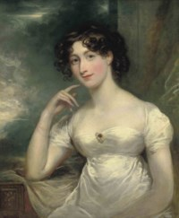 Portrait of a lady, half-length, in a white dress, a landscape beyond