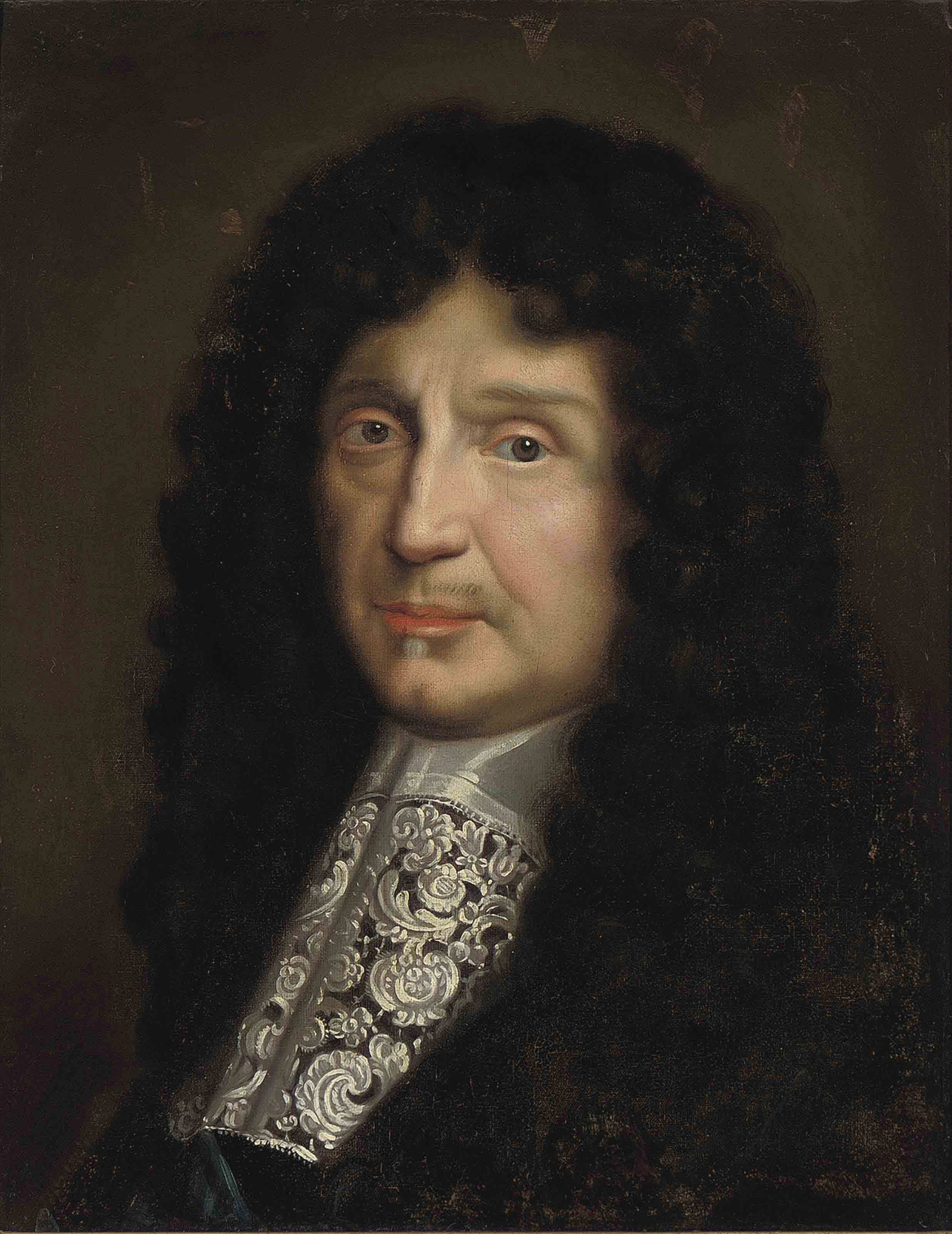 Portrait of Jean-Baptiste Antoine Colbert, Marquis de Seignelay, bust-length, in a black coat, with lace cravat