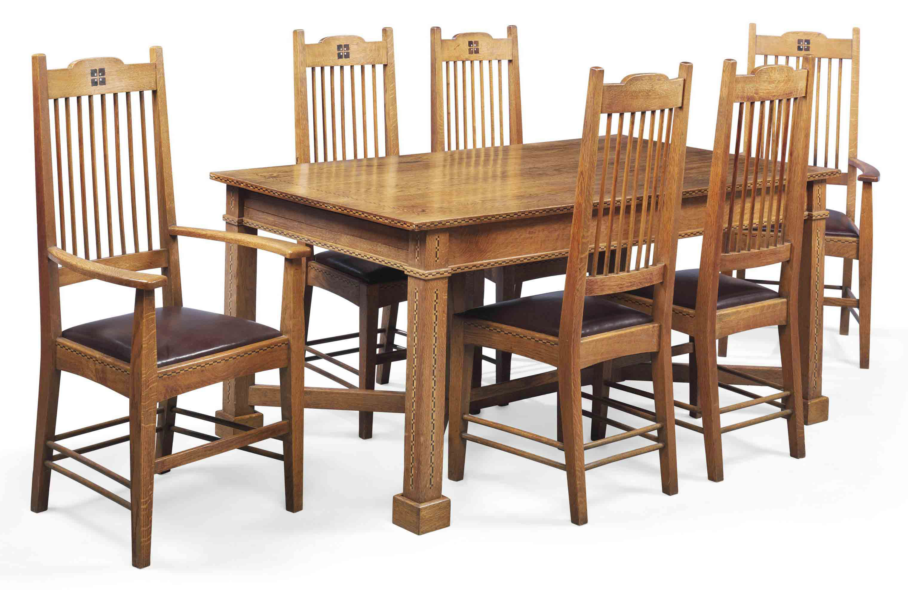Arts And Crafts Dining Room: AN ARTS & CRAFTS INLAID OAK DINING ROOM SUITE , CIRCA 1910