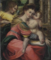 The Madonna and Child with an angel in a garden