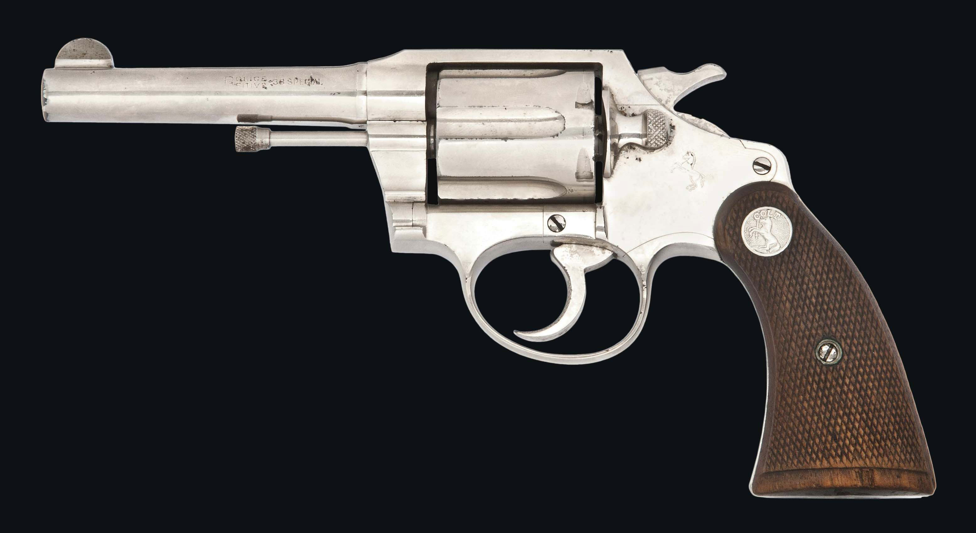 A .38 (SPECIAL) 'POLICE POSITIVE' NICKEL-PLATED SIX-SHOT DOUBLE-ACTION REVOLVER