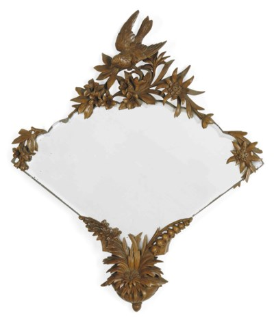 TWO SWISS CARVED WOOD MIRRORS