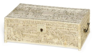 A CHINESE CARVED IVORY BOX