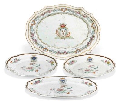FOUR CHINESE ARMORIAL DISHES