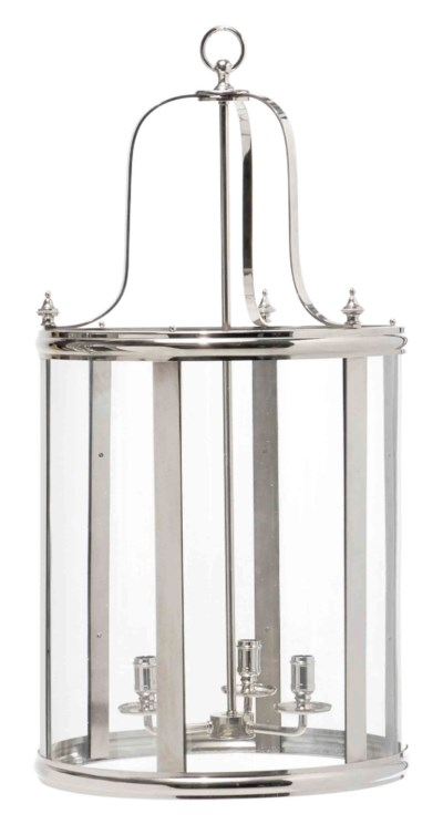 A PAIR OF LARGE SILVERED METAL