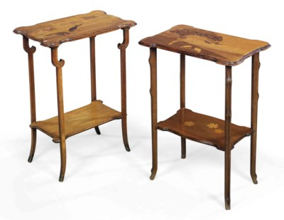 TWO EMILE GALLÉ MARQUETRY TWO-