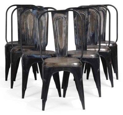 A SET OF SEVEN STEEL DINING CH