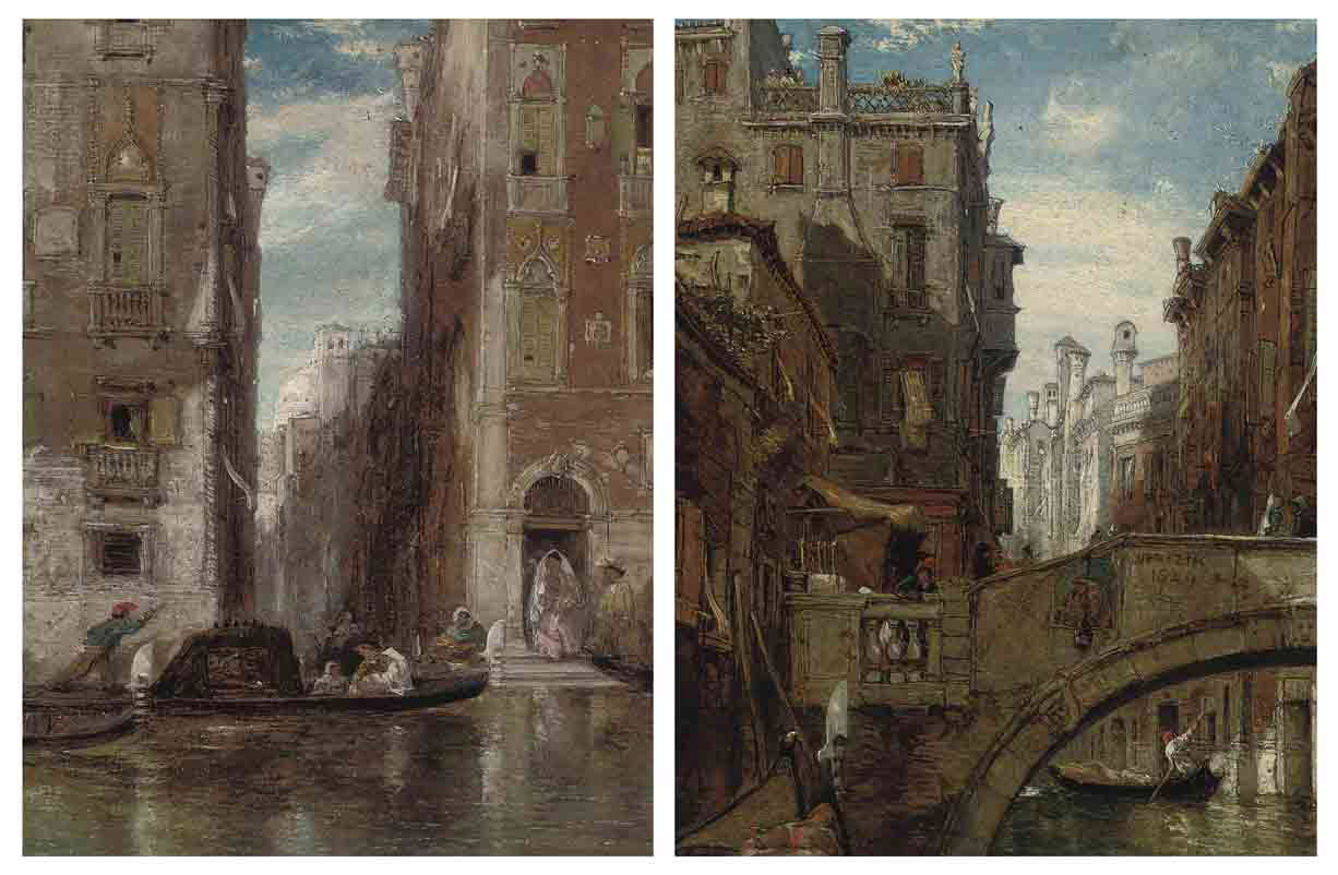 A Venetian backwater; and Gondolas on a Venetian canal