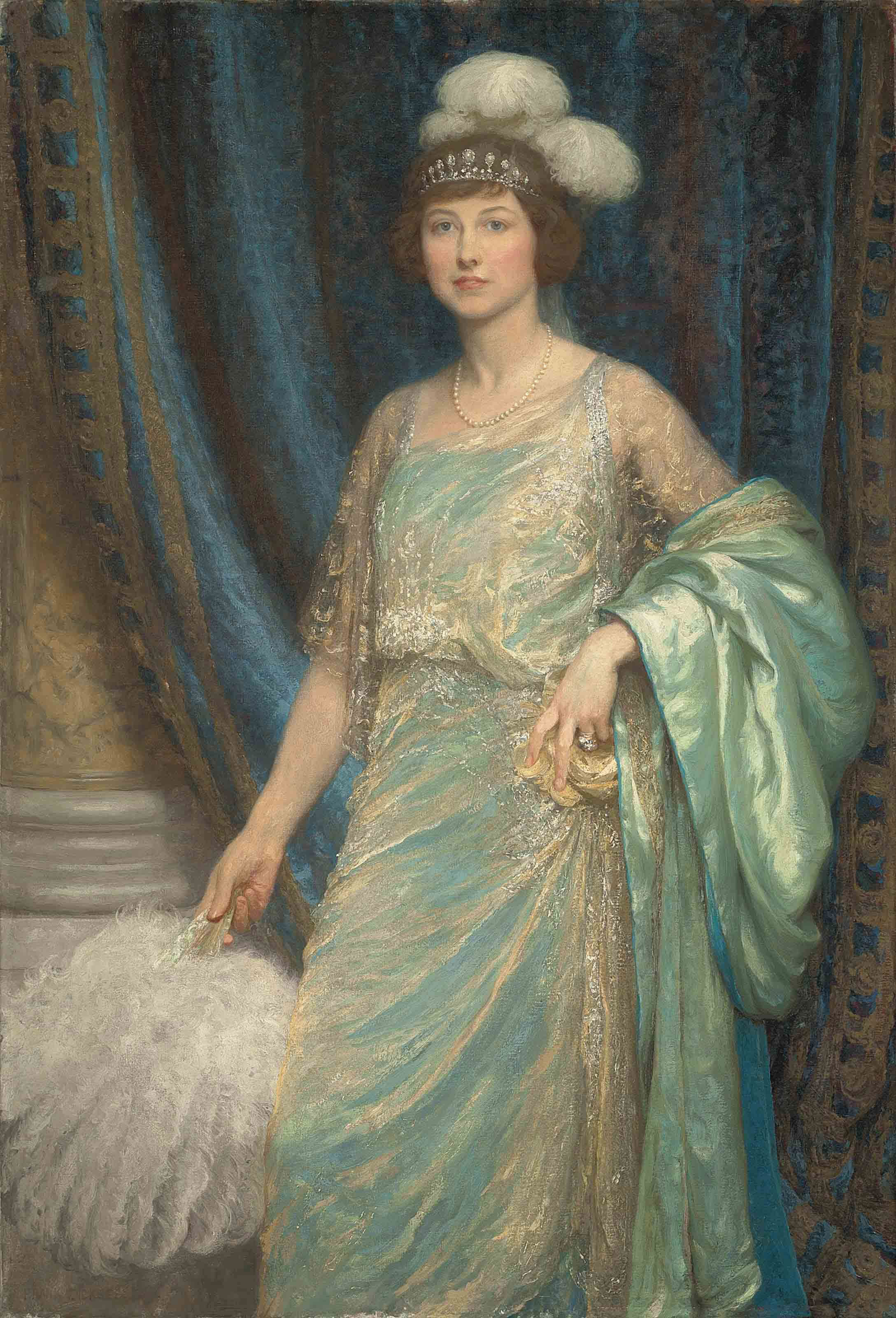 Portrait of Mrs Norman Holbrook, three-quarter-length, in a turquoise dress and a white fan