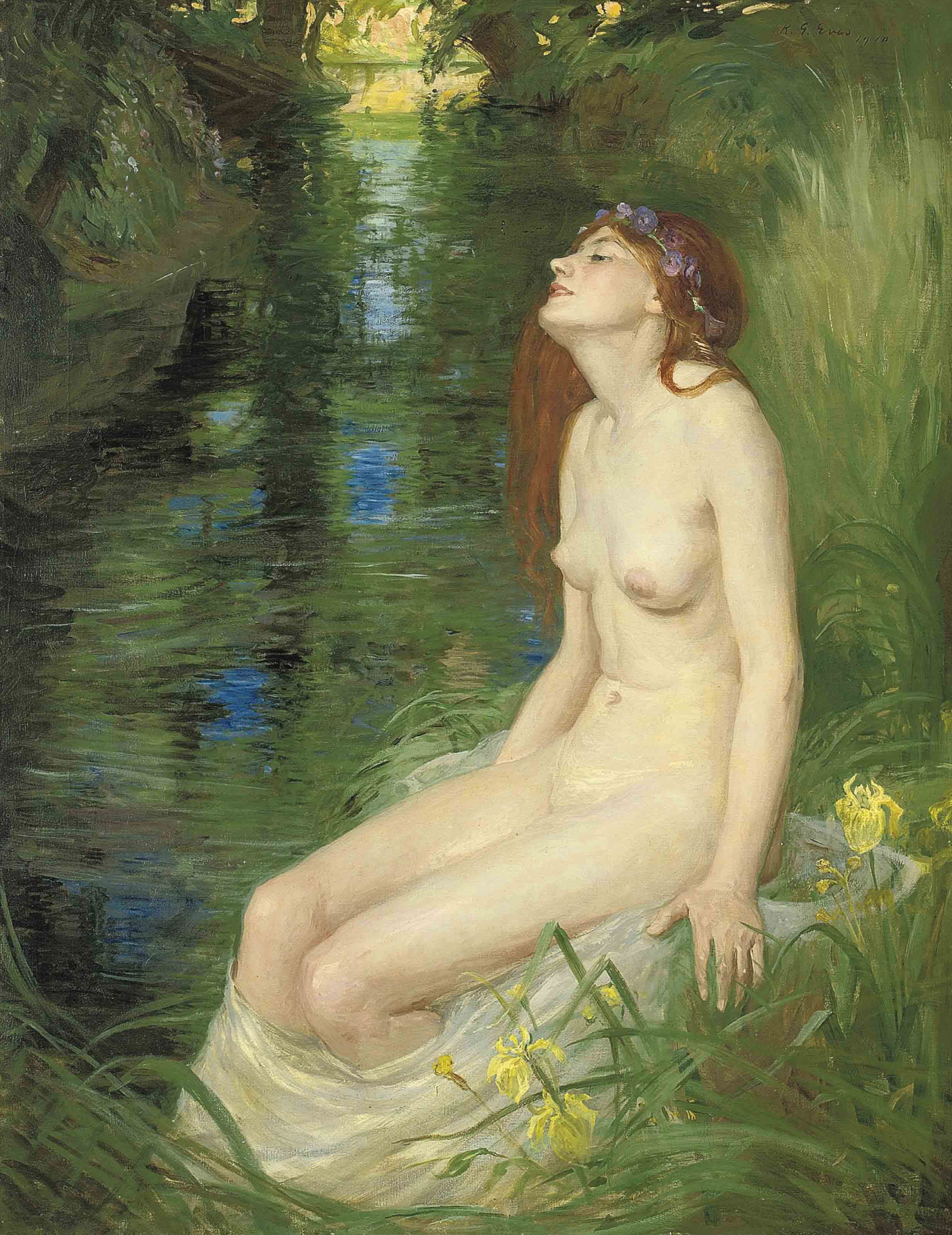 A nymph beside a pool