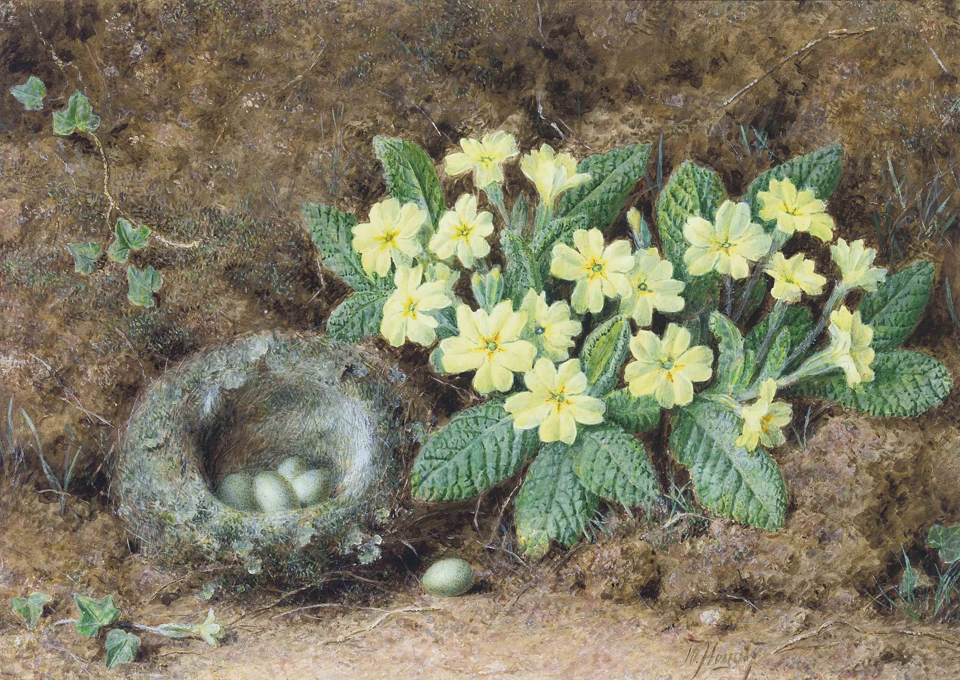 Still life of a bird's nest and primroses on a mossy bank