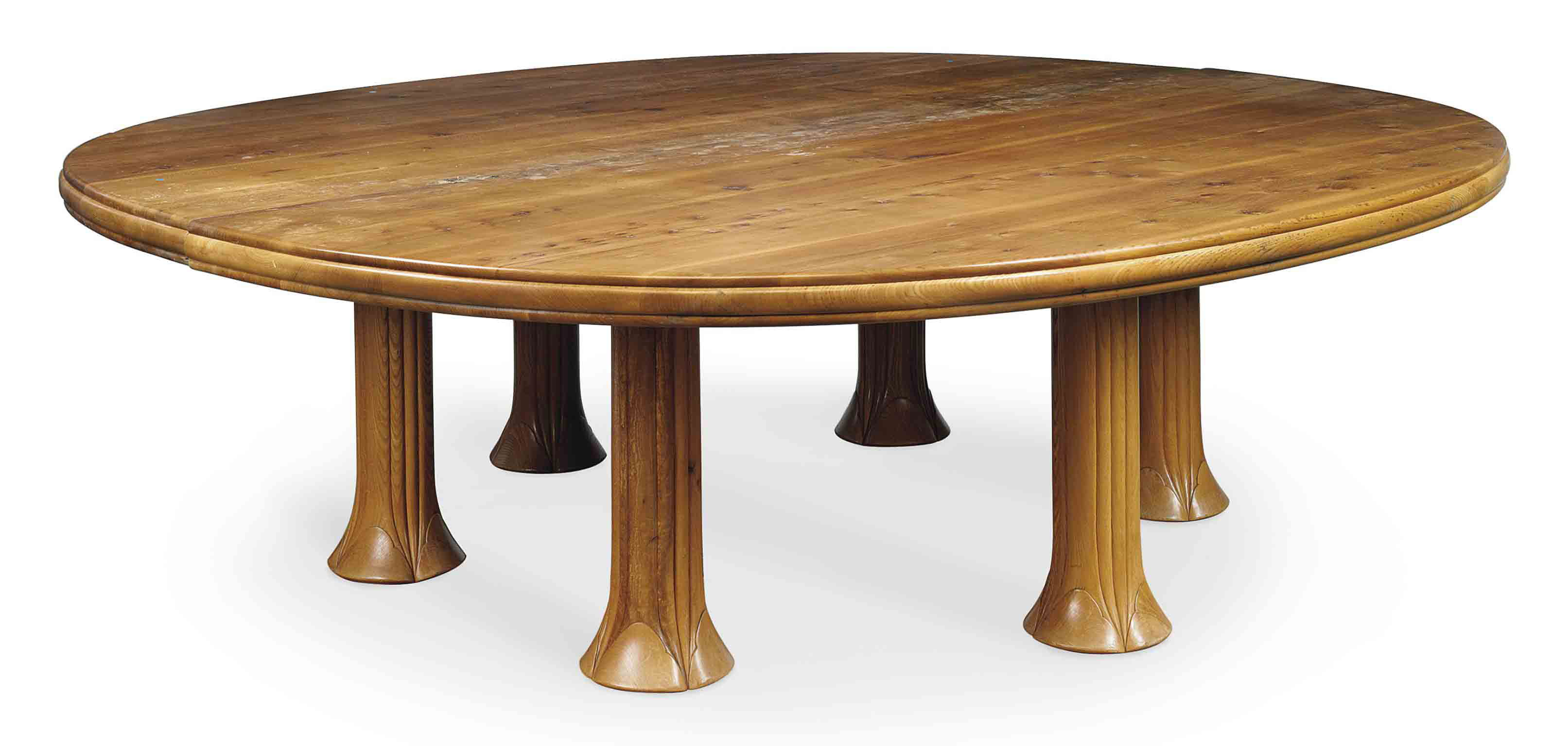 A JOHN MAKEPEACE ENGLISH ELM DINING TABLE