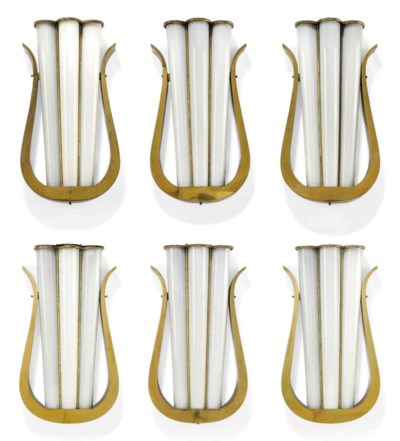 A SET OF SIX LACQUERED BRASS L