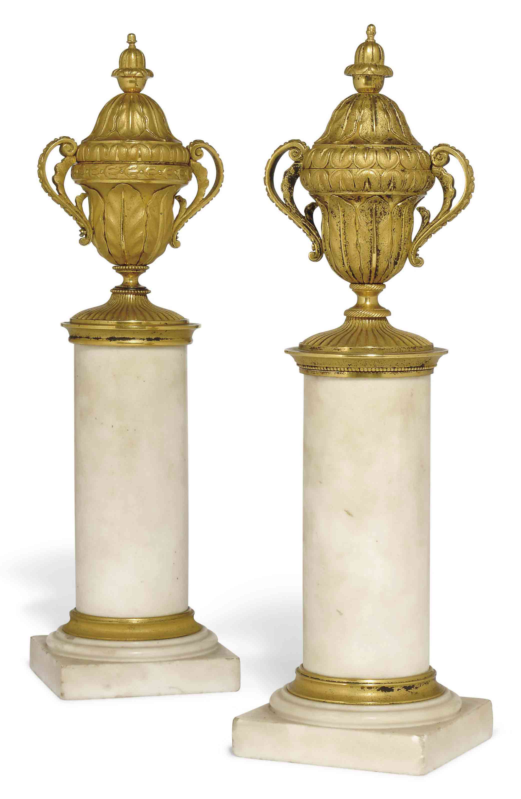 TWO ORMOLU AND MARBLE URNS
