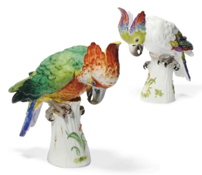 TWO MEISSEN MODELS OF COCKATOO