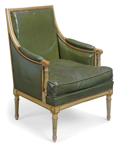 A GREY PAINTED AND PARCEL-GILT