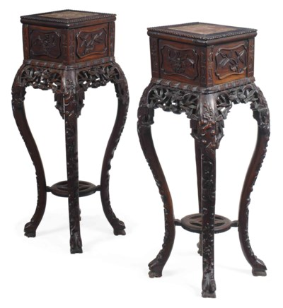 A PAIR OF CHINESE ROSEWOOD HAR