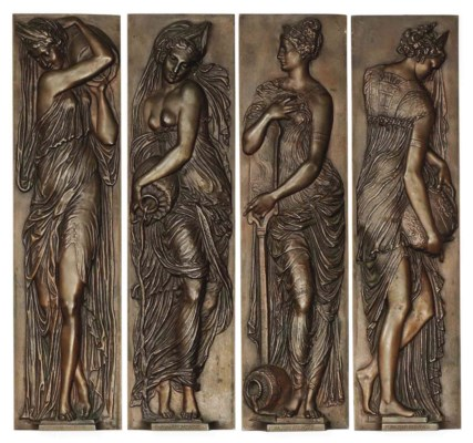A SET OF FOUR FRENCH BRONZE RE