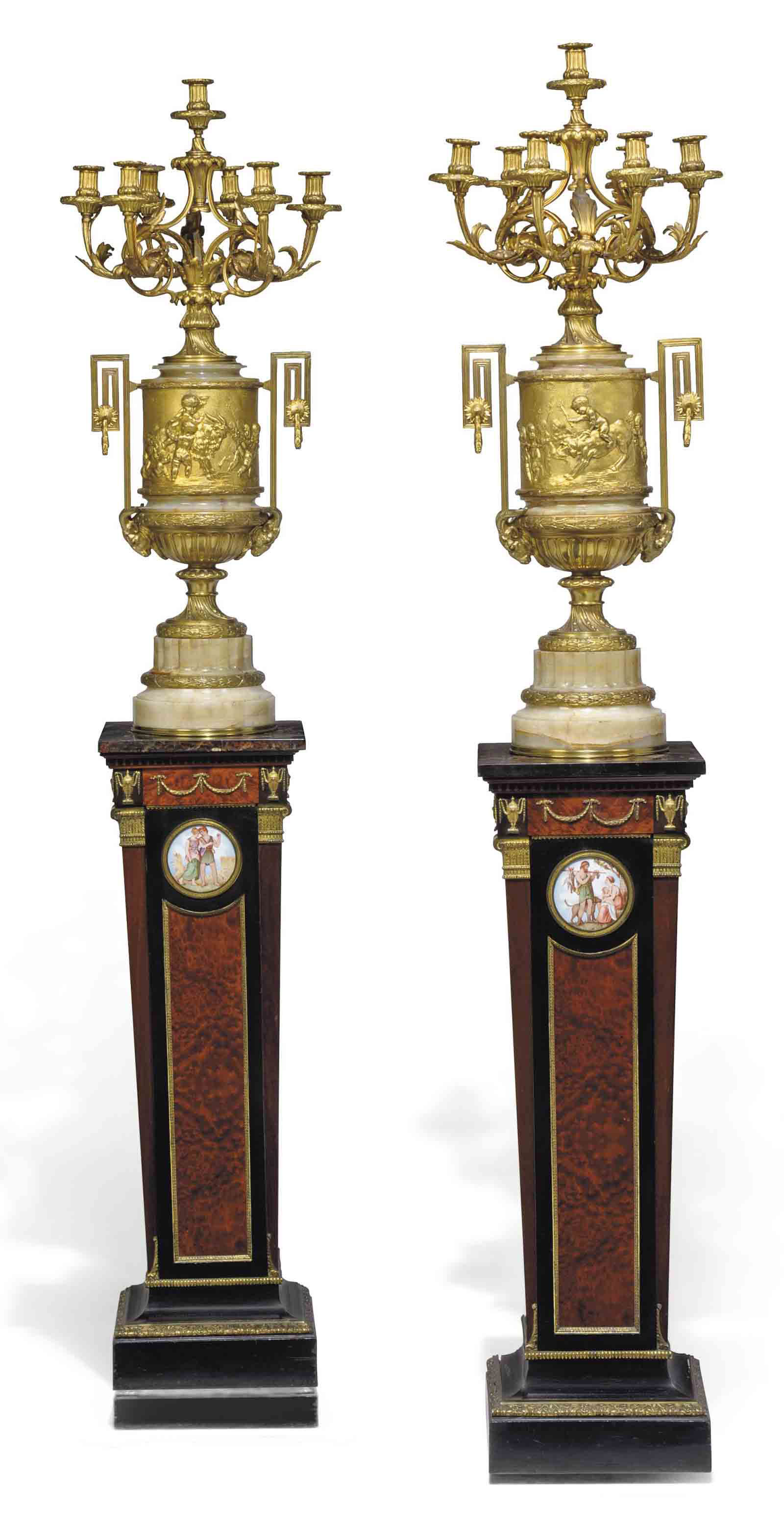 A PAIR OF FRENCH SEVEN-LIGHT G