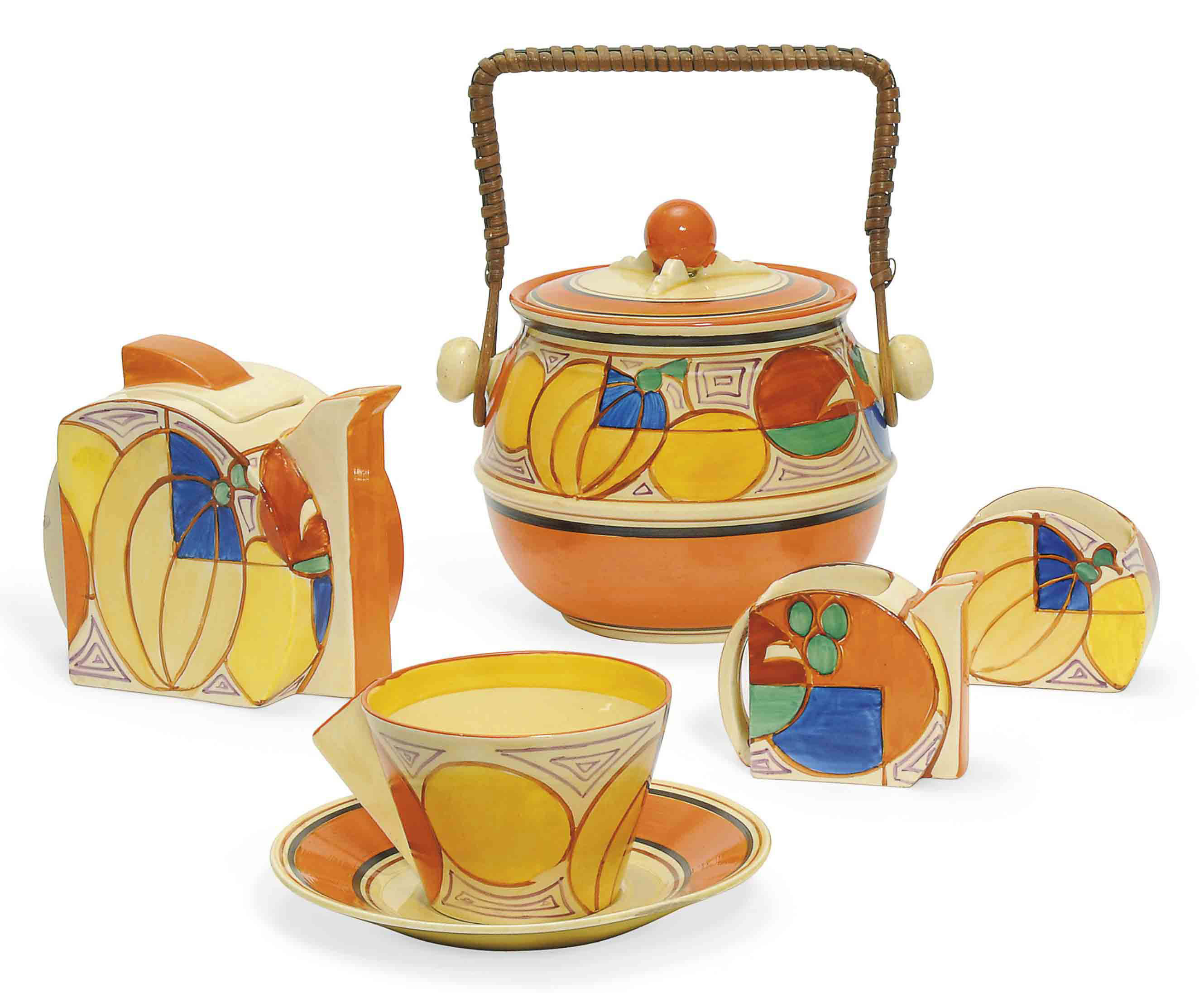 A CLARICE CLIFF MELON STAMFORD BACHELOR SET