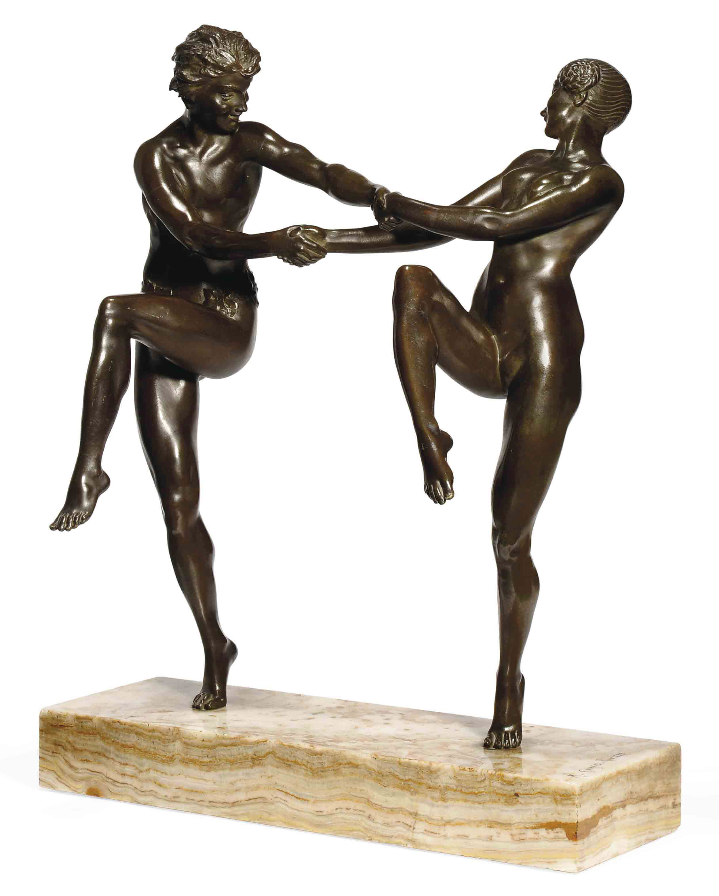 'THE DANCE' A MAURICE GUIRAUD-RIVIÈRE PATINATED BRONZE GROUP