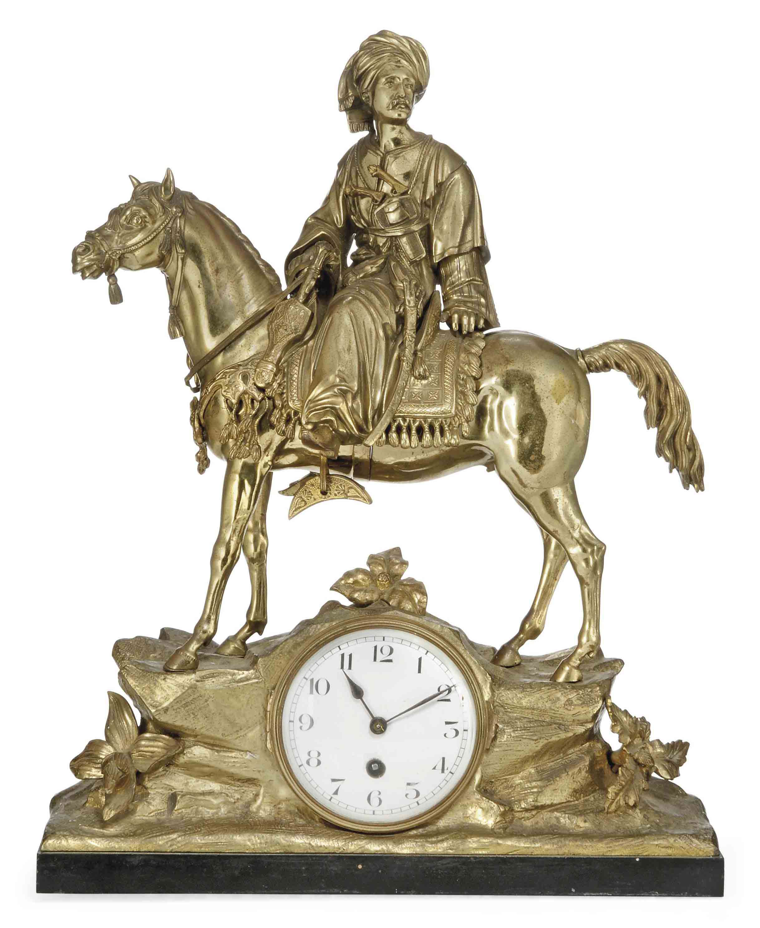 A FRENCH BRONZE MANTEL CLOCK M