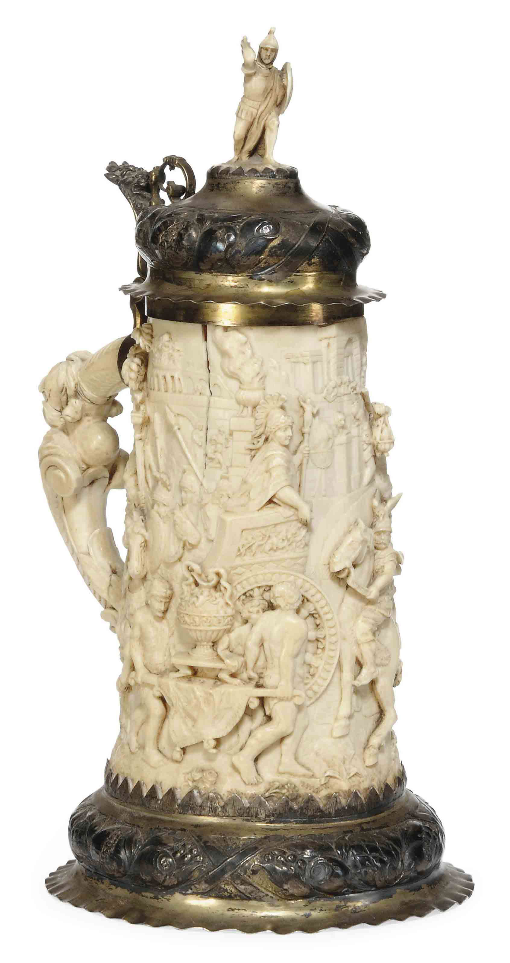 A GERMAN CARVED IVORY AND SILV