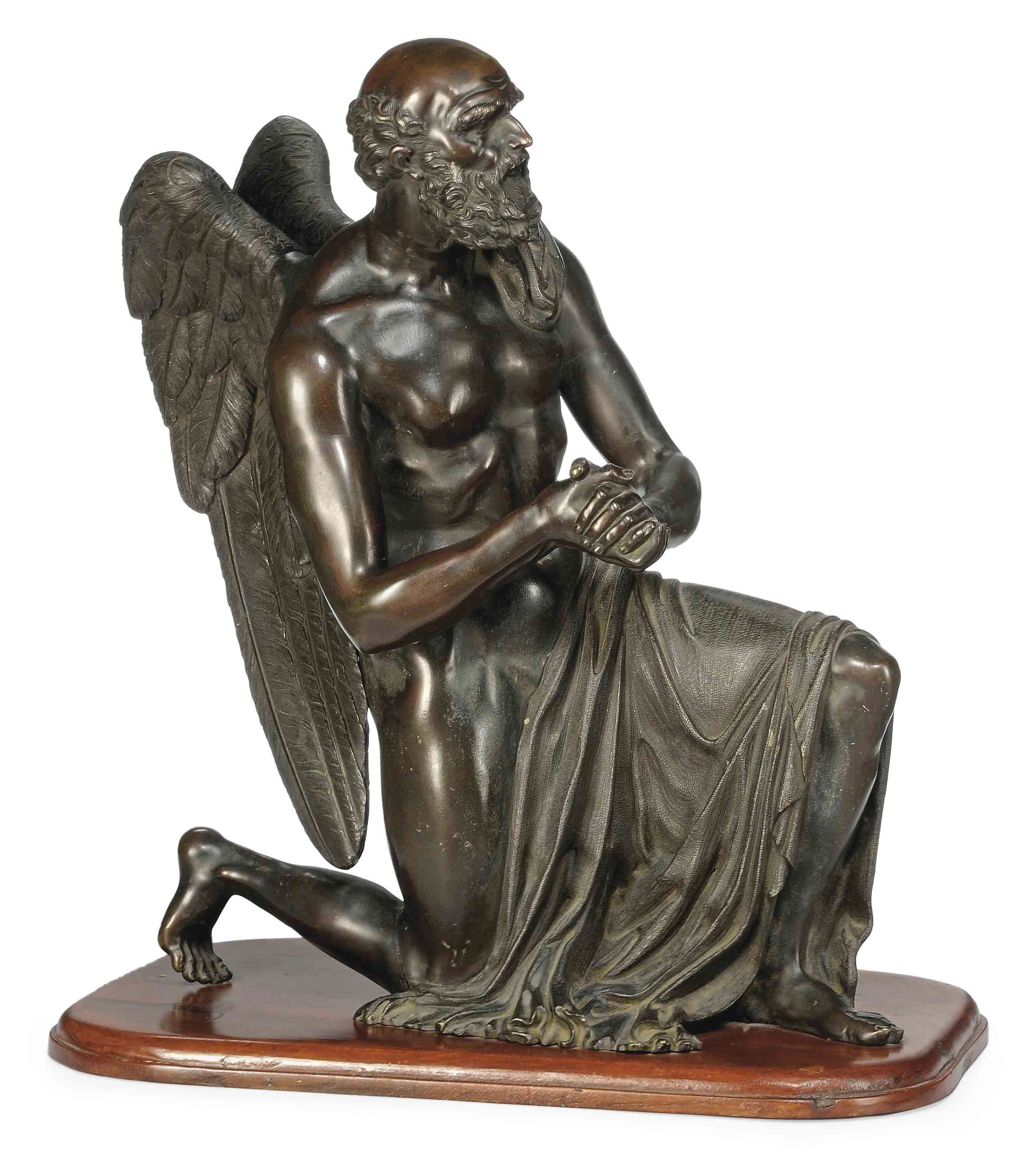A FRENCH BRONZE MODEL OF 'OLD