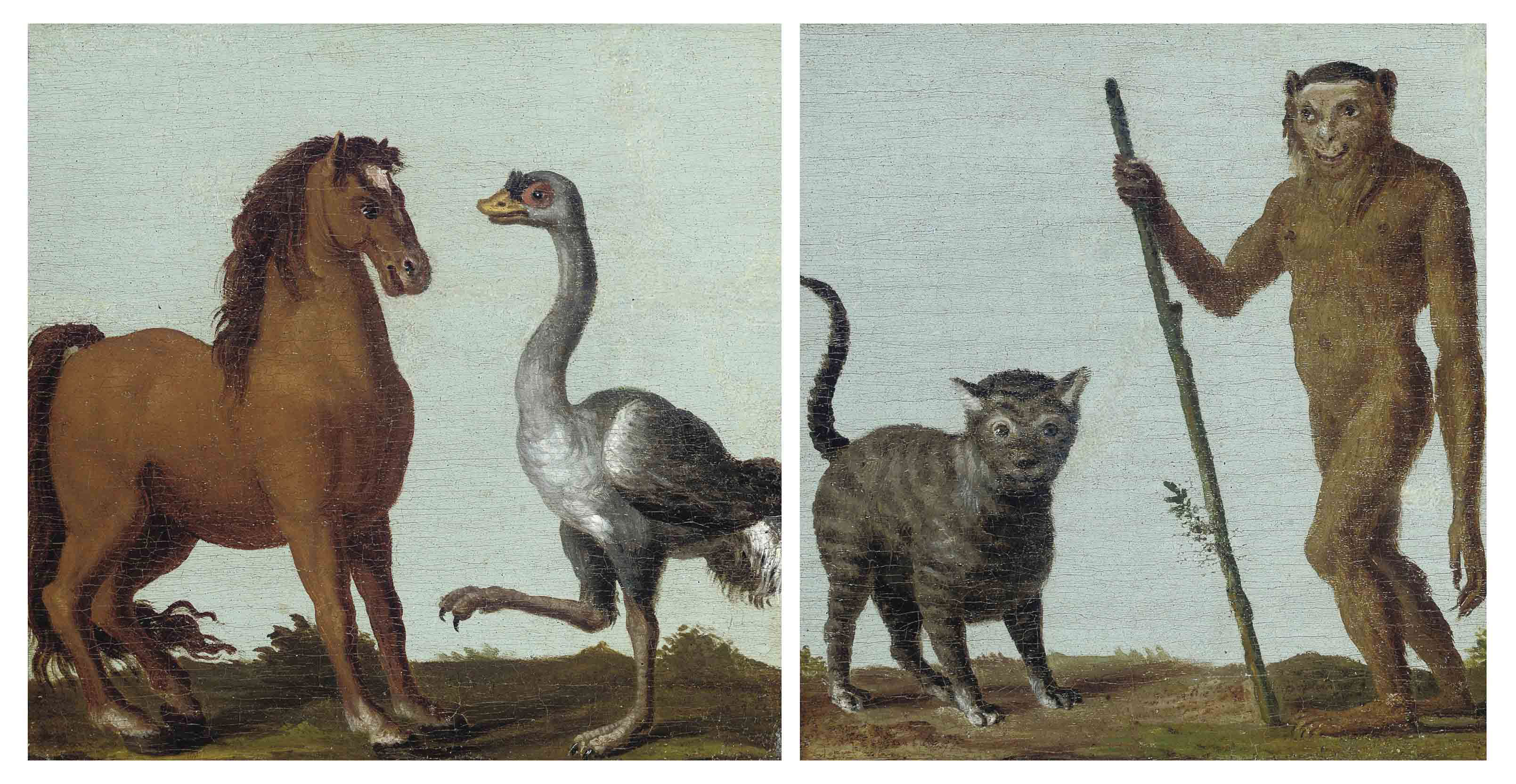 A monkey and a cat in a landscape; and A horse and an ostrich in a landscape