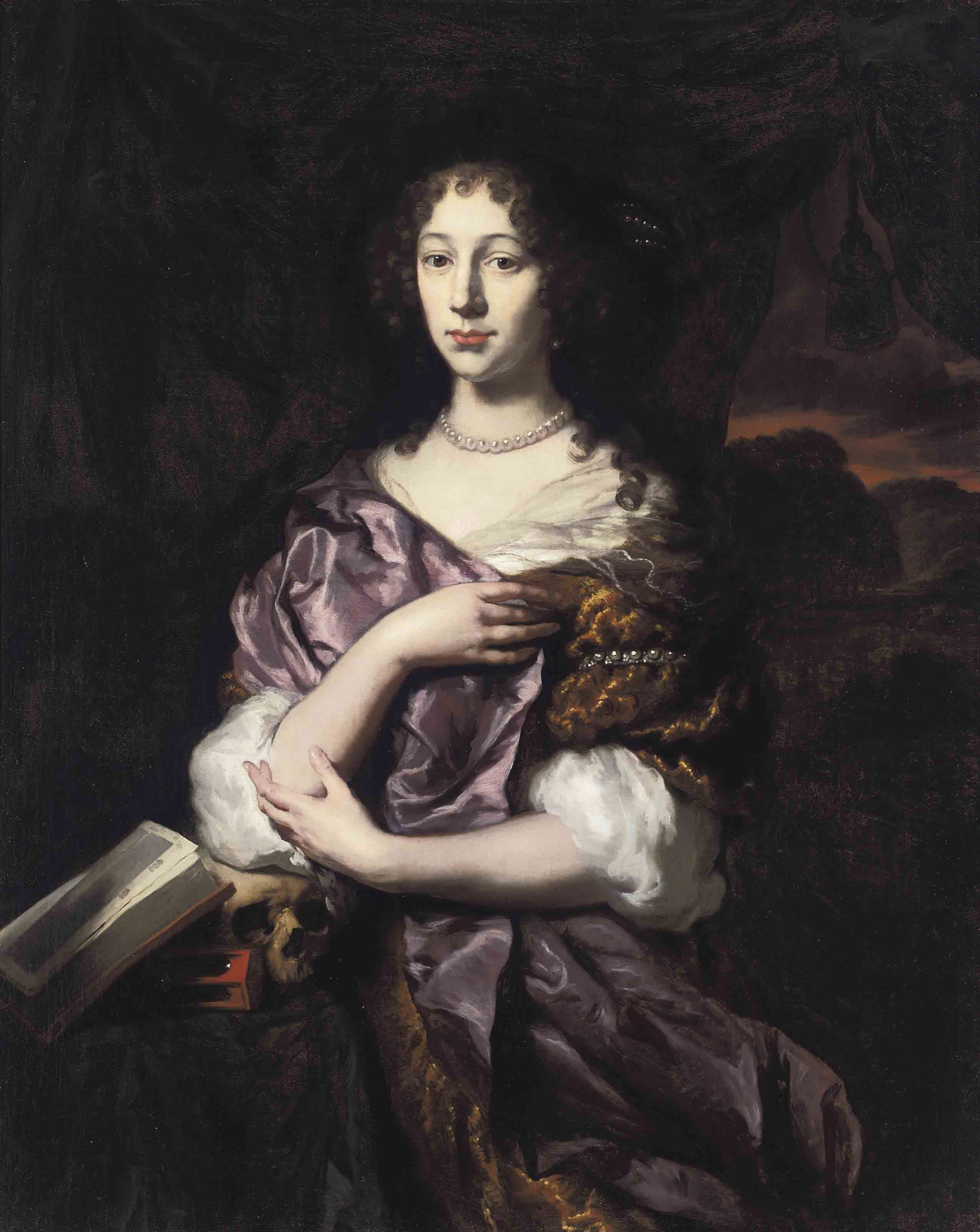 A vanitas portrait of a lady, three-quarter-length, in a gold dress and purple wrap, her elbow resting on a skull, with an hour-glass and an open book, in a landscape