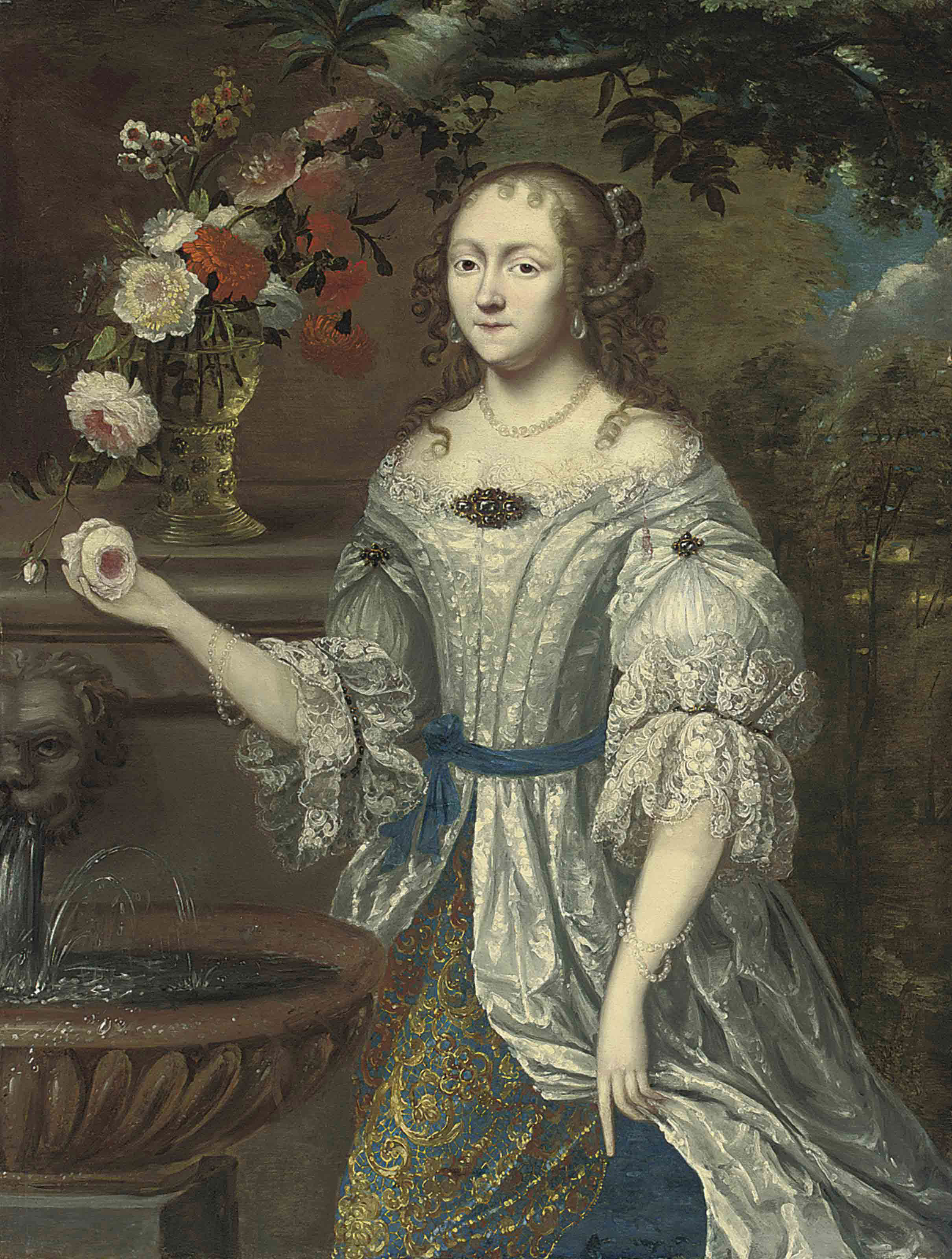 Portrait of a lady traditionally identified as Madame Ninon de Lenclos (1620-1705), three-quarter-length, in a lace-trimmed blue and gray dress, with roses, narcissi and other flowers in a roemer on a ledge, beside a classical fountain