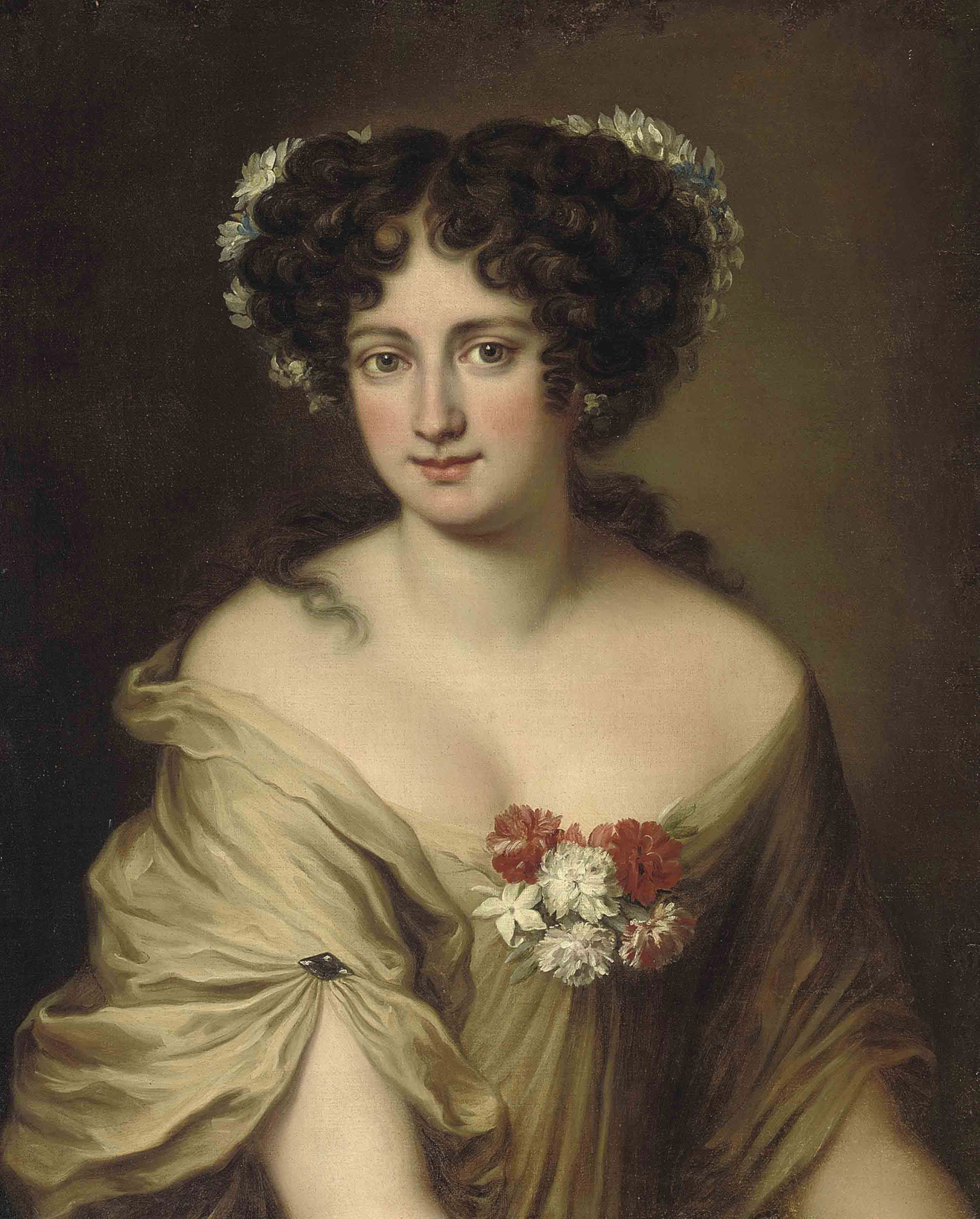 Portrait of Contessa Ortensia Ianni Stella, bust-length, in an ivory chemise, with flowers in her hair