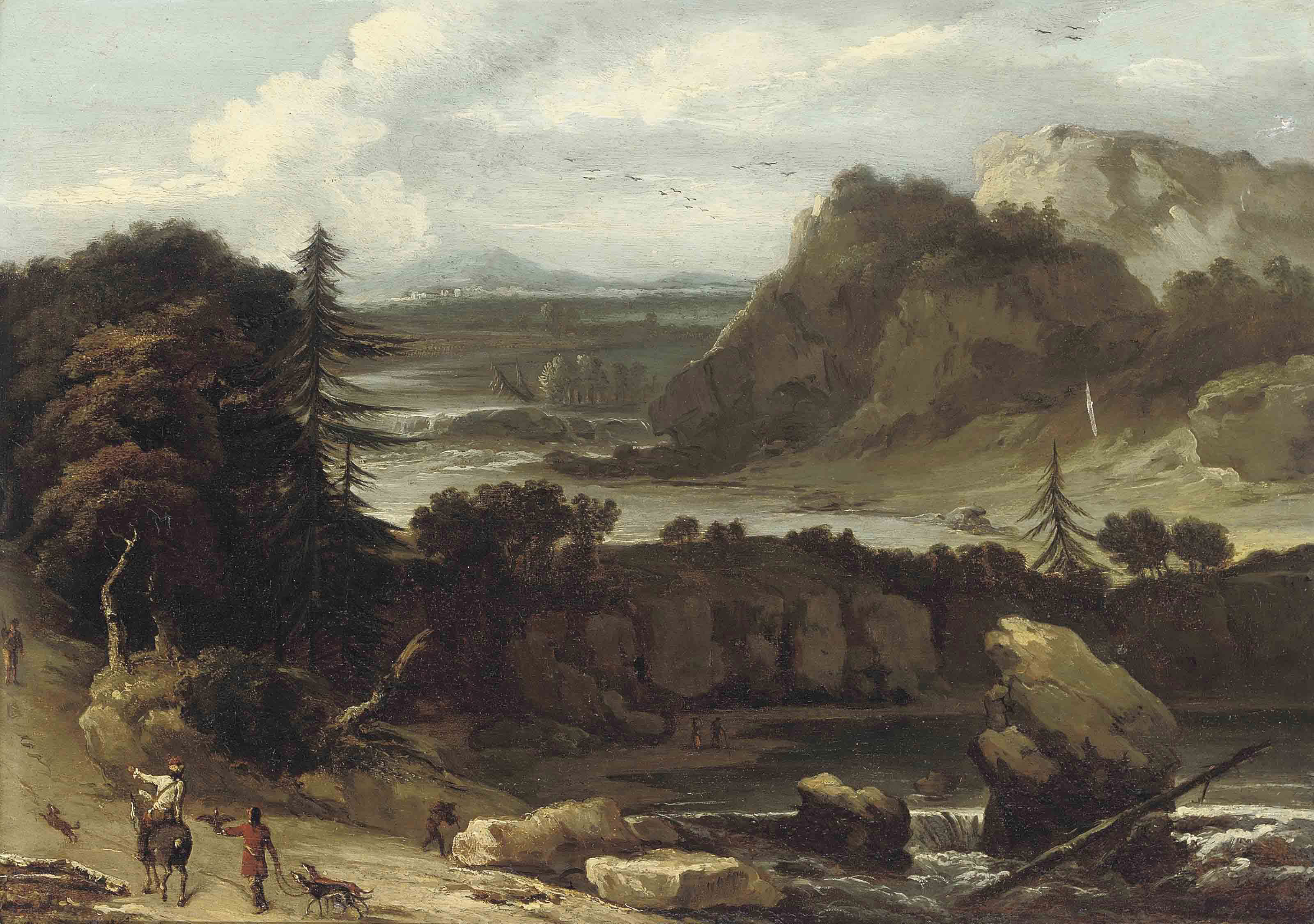 A wooded river landscape with a hunting party