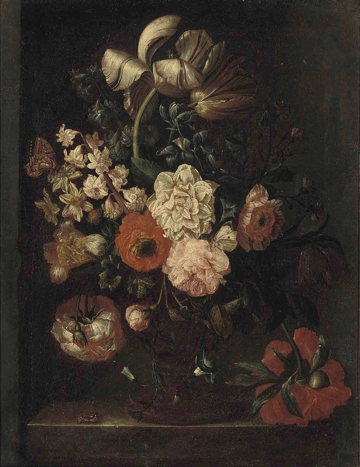 Roses, tulips and morning glory in an urn on a stone ledge, with a butterfly, a fly and a beetle