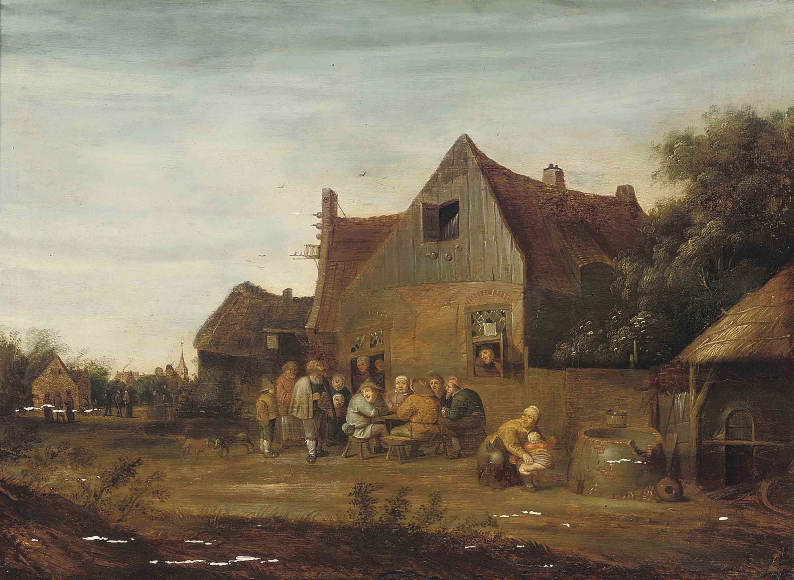 Peasants carousing outside a tavern