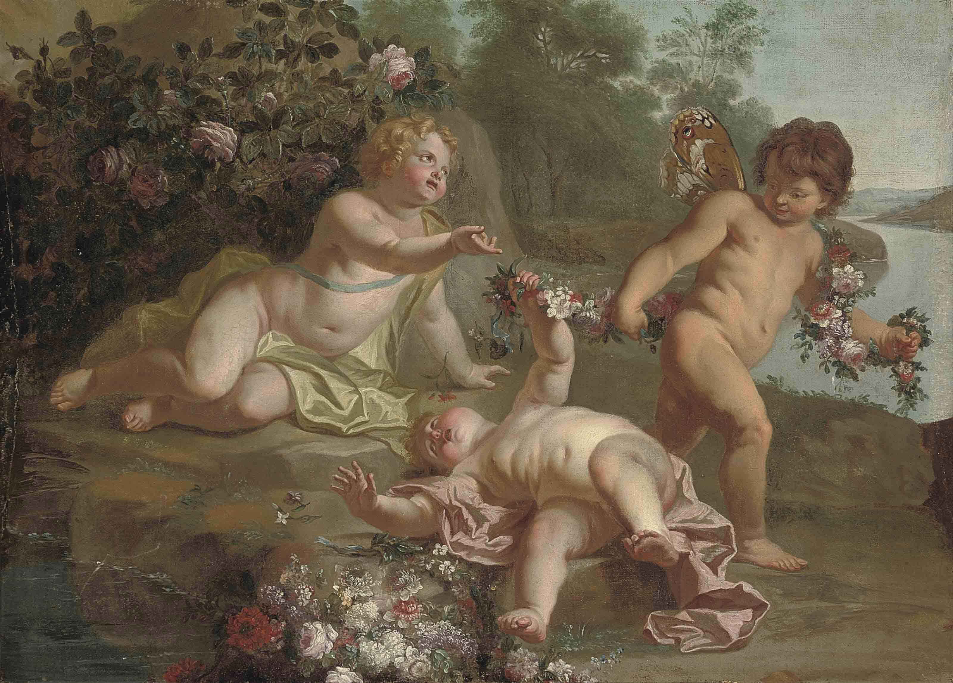 Putti disporting with garlands of flowers beside a lake