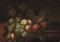 Grapes, oranges, peaches and a pomegranate on a pewter platter, on a partly-draped table