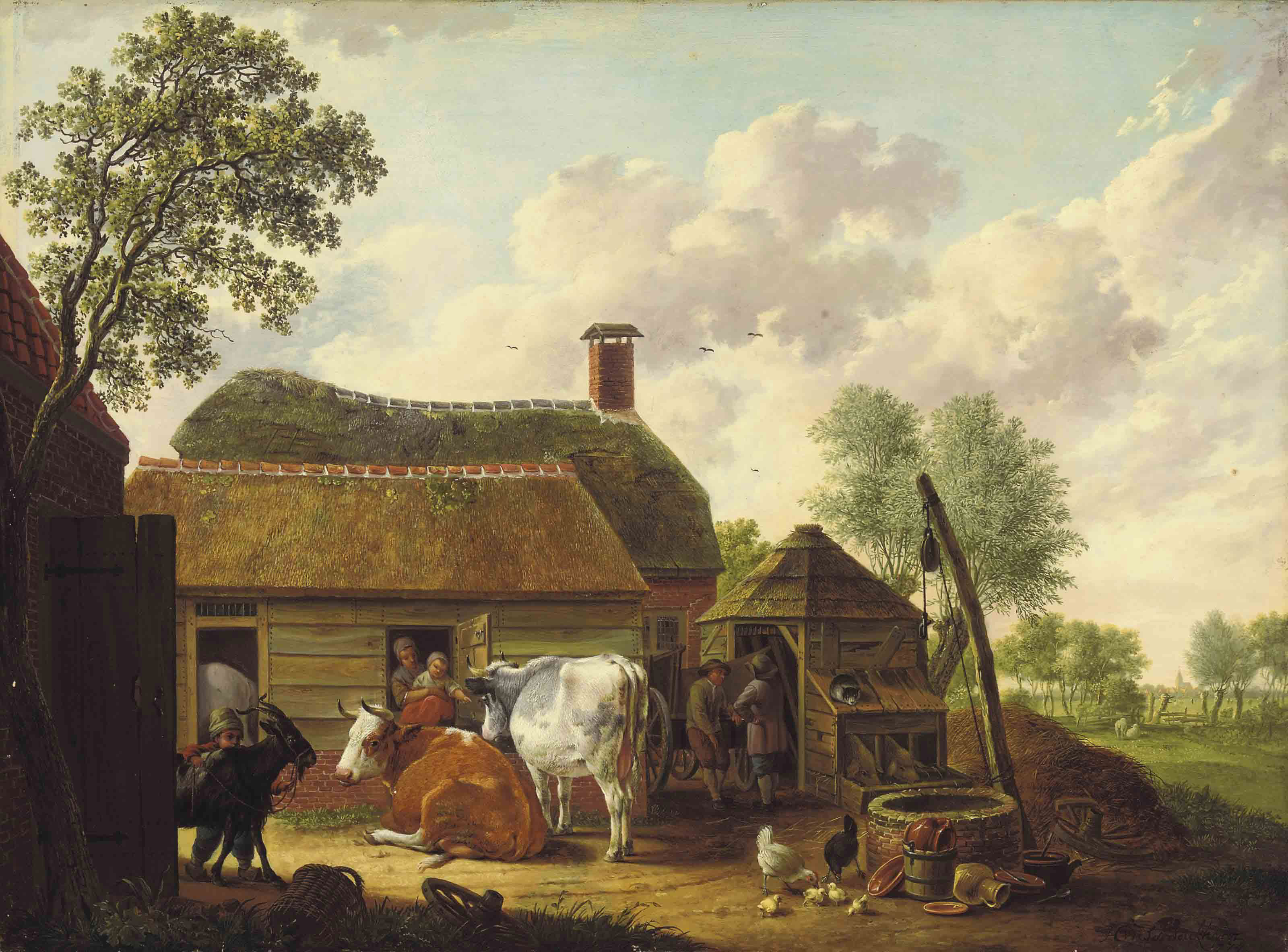 A farm scene with peasants, cattle, chickens and a goat
