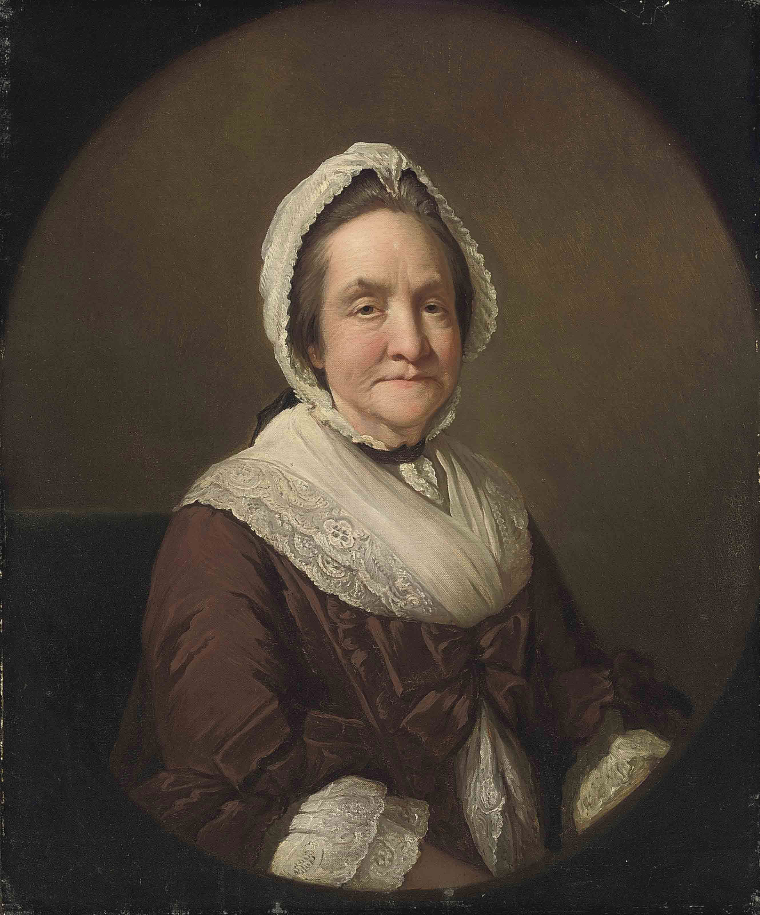 Portrait of Frances Adcock, Mrs. Robert Butcher (b. 1710), half-length, in a brown dress and lace shawl and cap, feigned oval