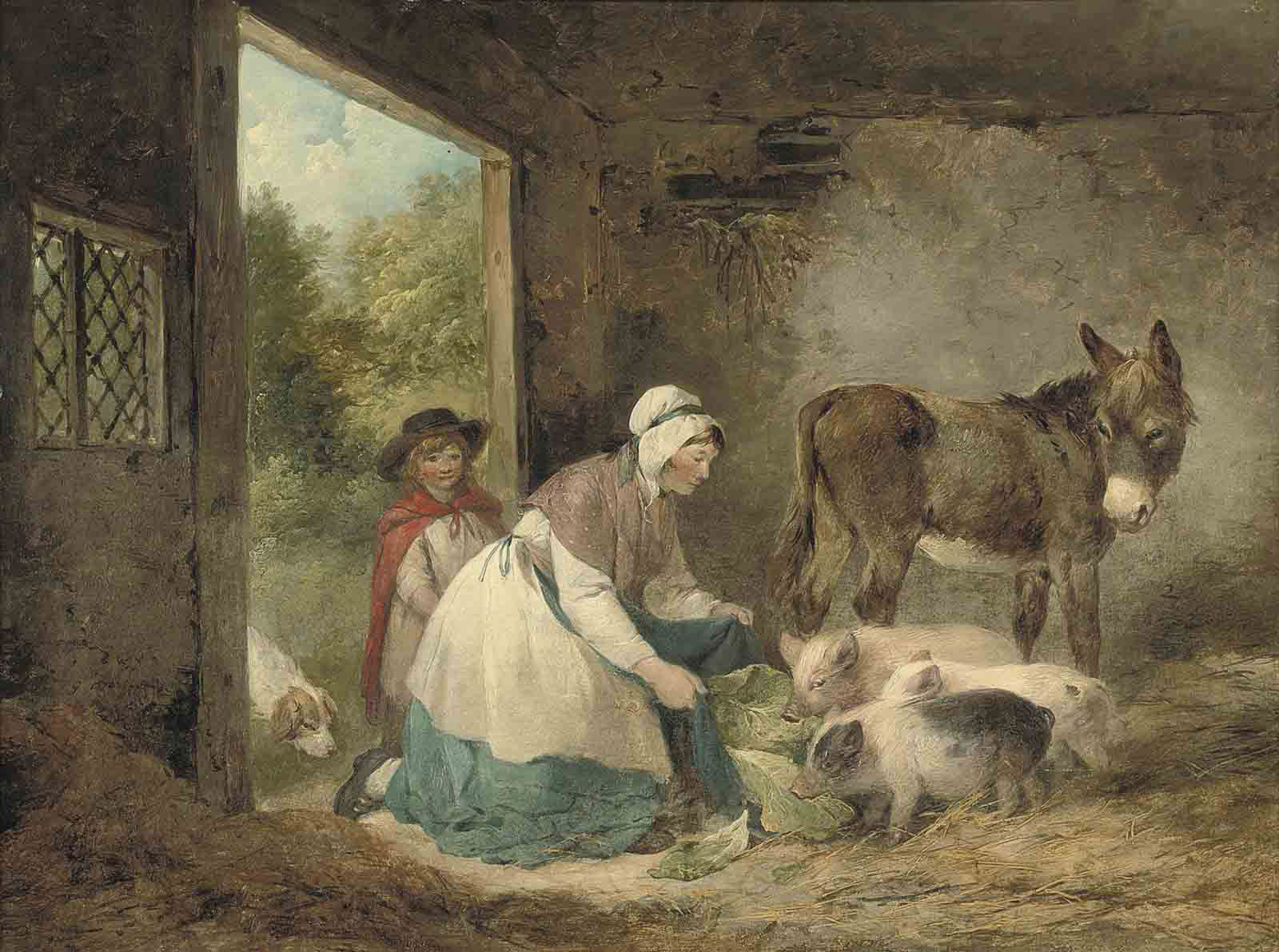 A woman and child feeding pigs in a stable, with a dog and a donkey