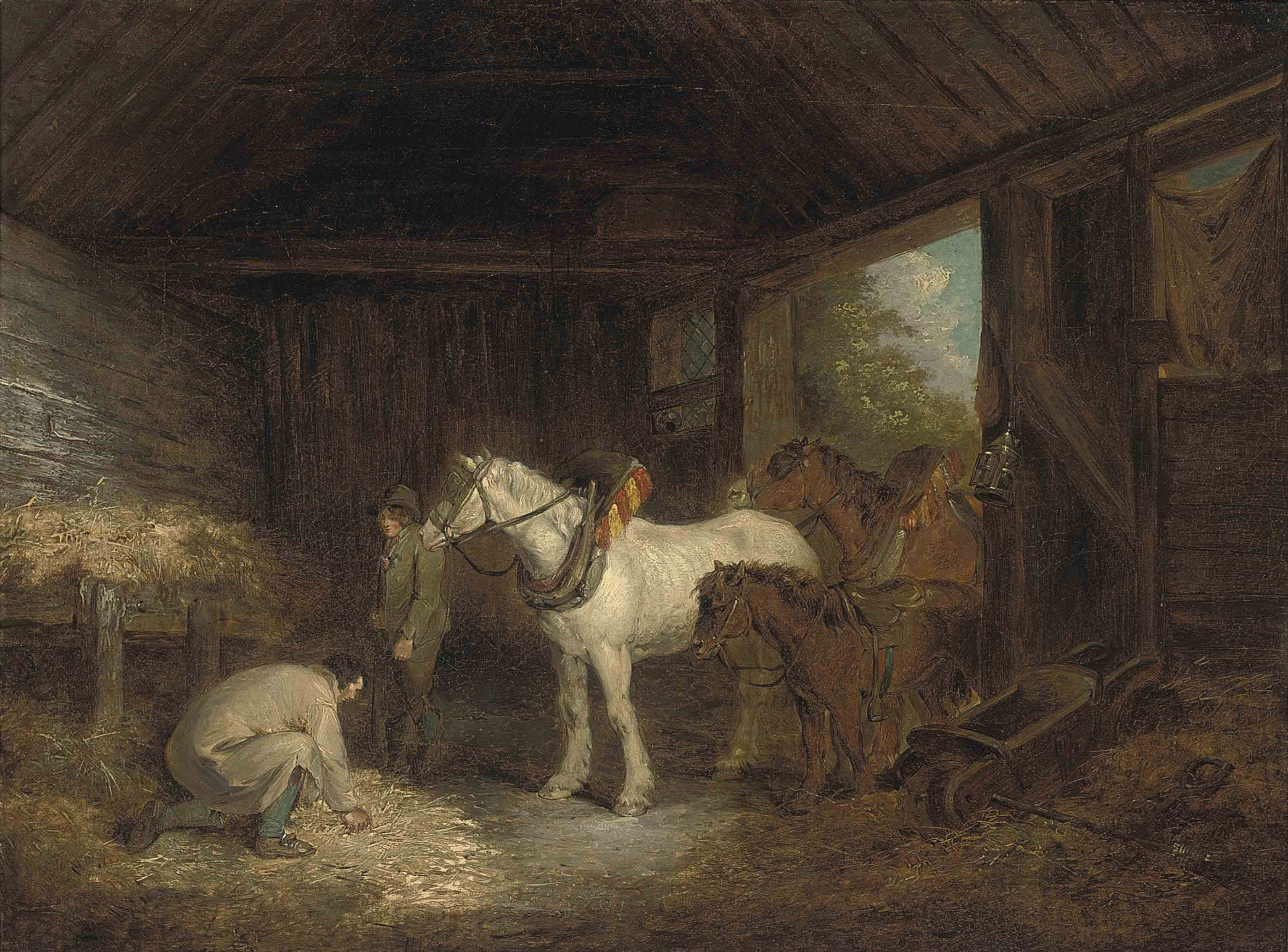 Follower Of George Morland R A Farm Hands With Plough