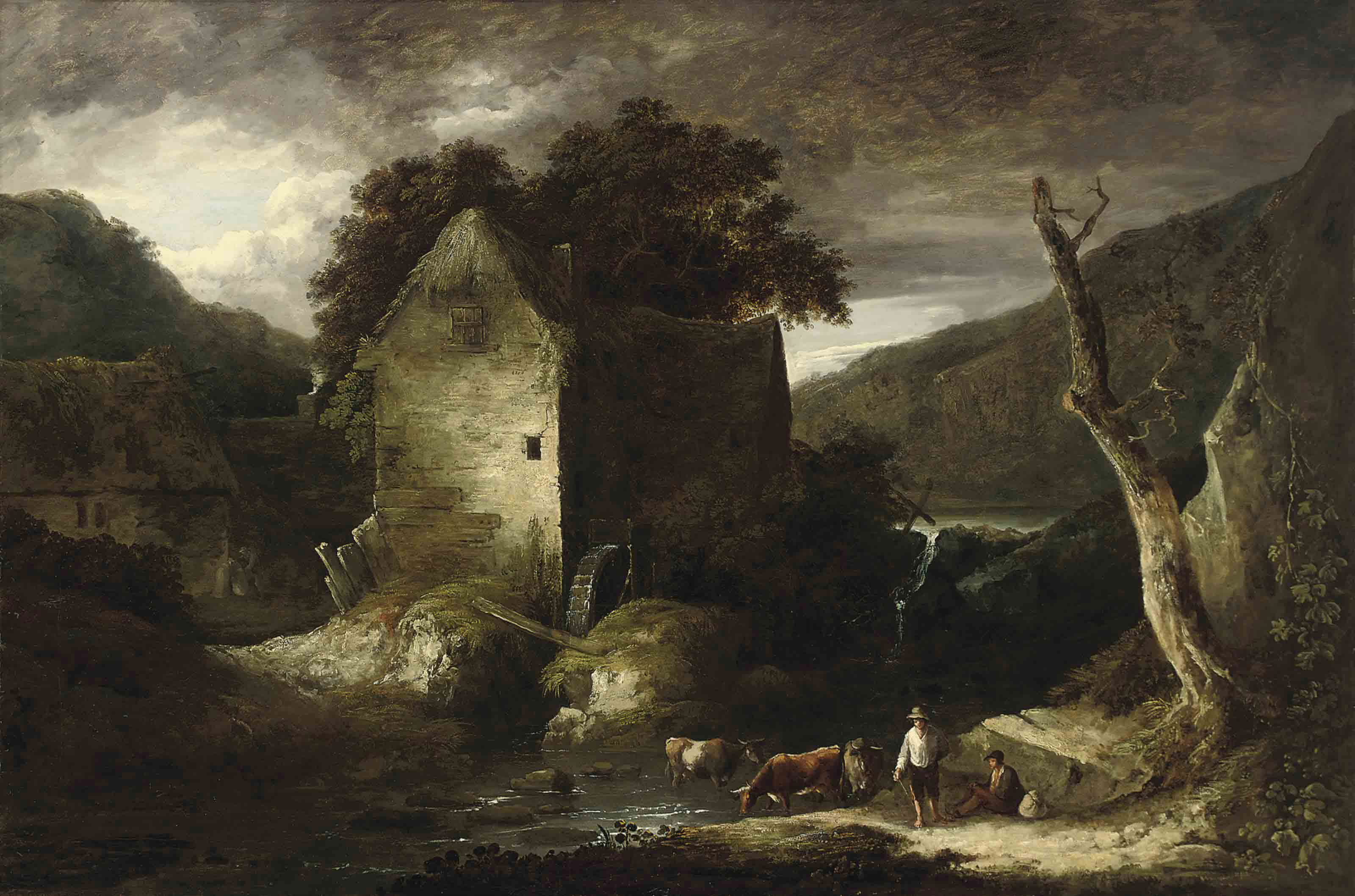 A wooded river landscape with drovers and their cattle by a watermill