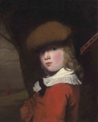 Portrait of a boy, bust-length, in a red coat with a white collar and a fur hat, holding a gun, in a landscape