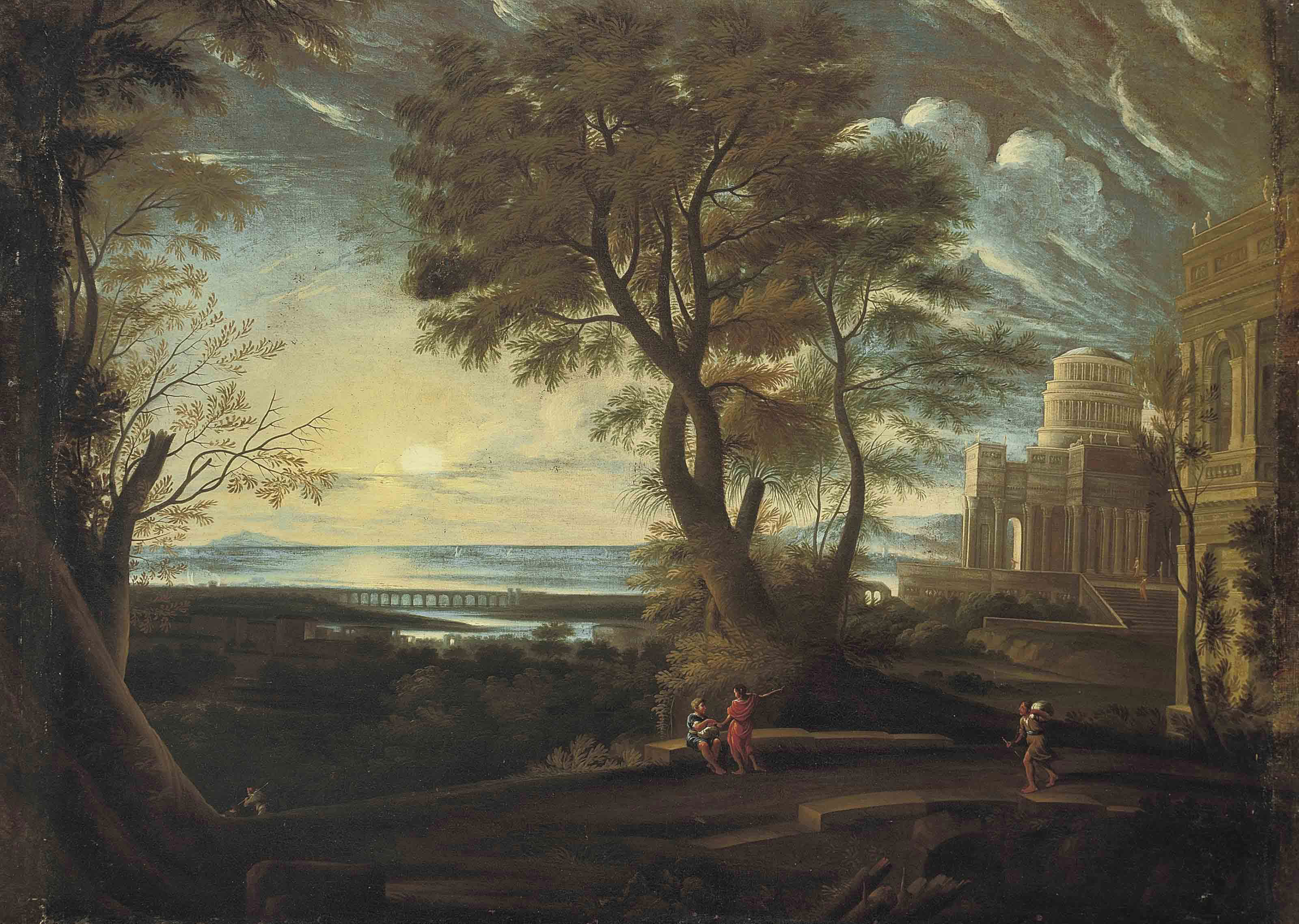 A classical landscape with figures resting on a bridge